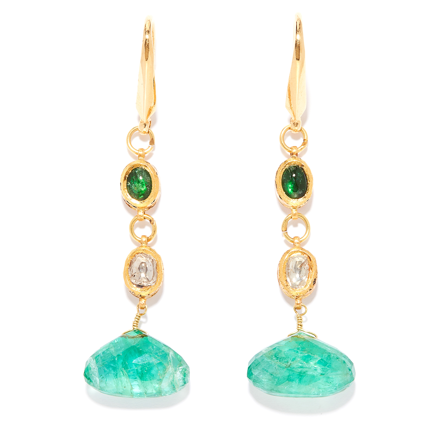 EMERALD AND DIAMOND DROP EARRINGS, INDIAN in high carat yellow gold, each comprising of a cabochon