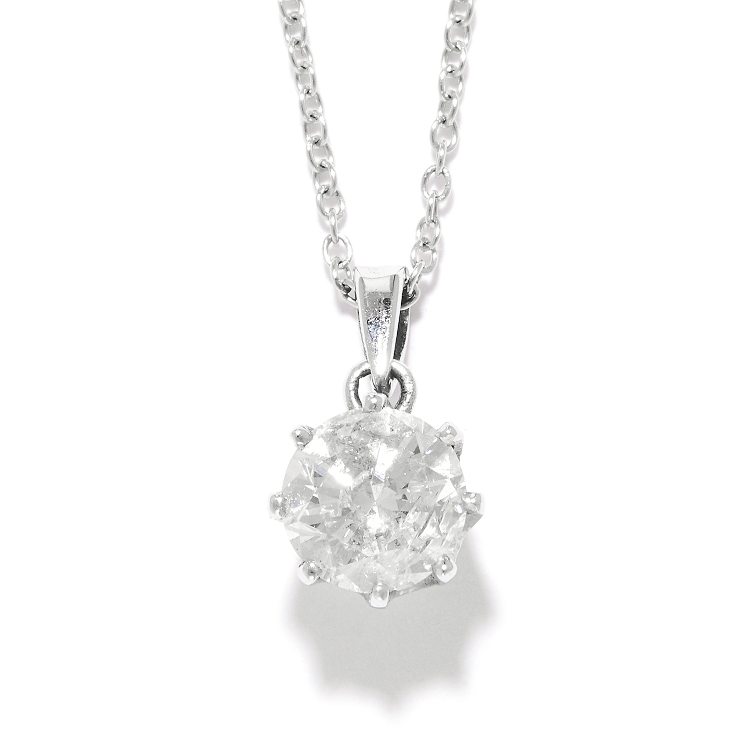0.94 CARAT SOLITAIRE DIAMOND PENDANT in 18ct white gold, set with a single round brilliant cut