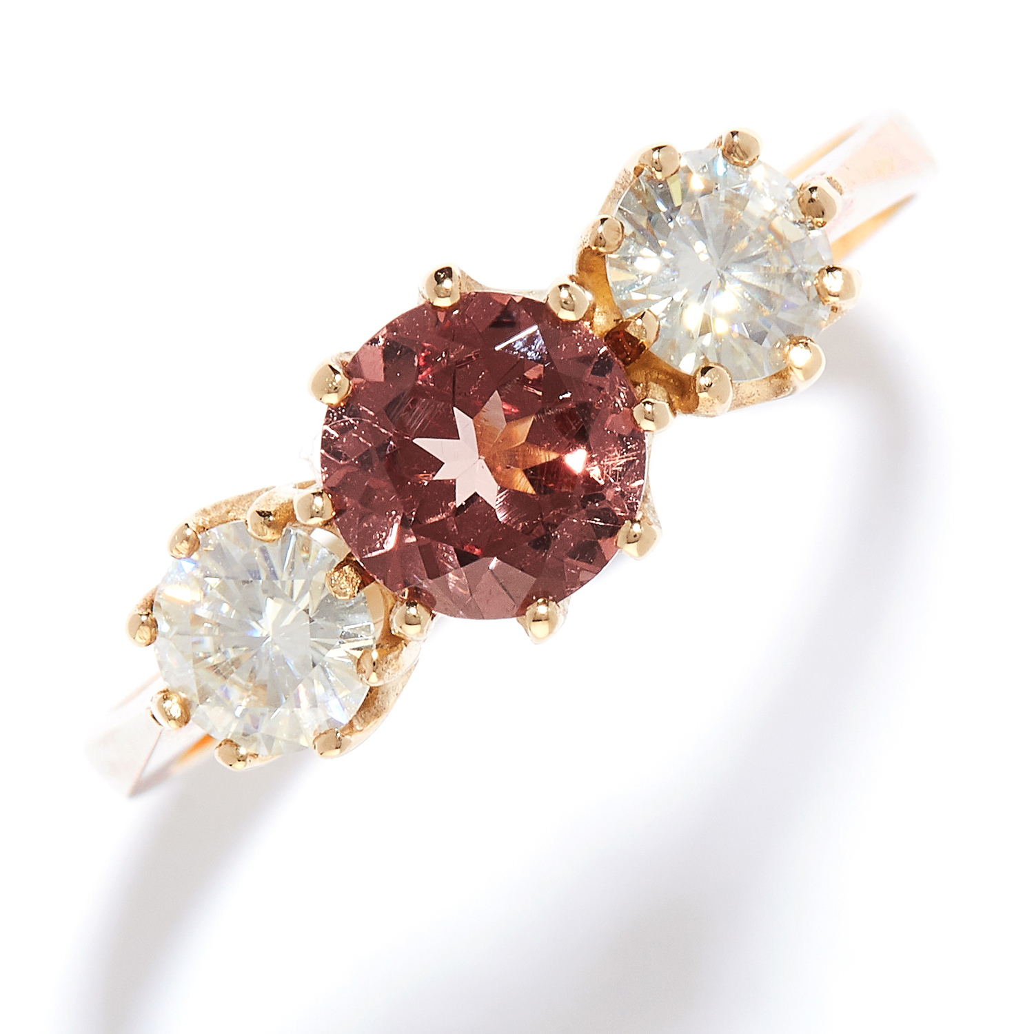 GARNET AND MOISSANITE THREE STONE RING in yellow gold, the round cut pink garnet of 1.0 carats