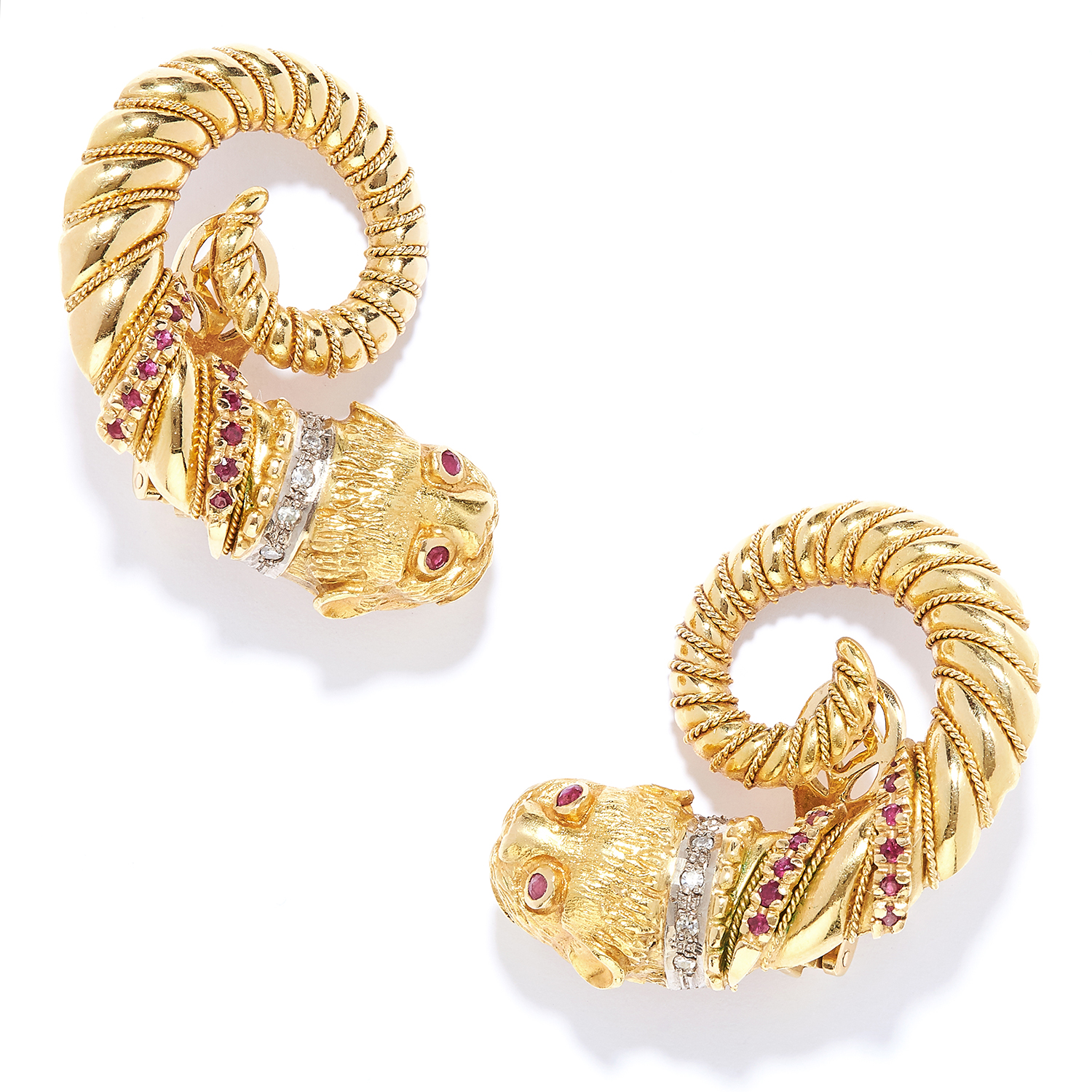 RUBY AND DIAMOND LION CLIP EARRINGS, LALAOUNIS in 18ct yellow gold, in Etruscan revival style,