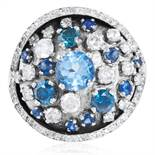 AN AQUAMARINE, BLUE DIAMOND, SAPPHIRE AND DIAMOND RING in 18ct white gold, of bombe form, set with a