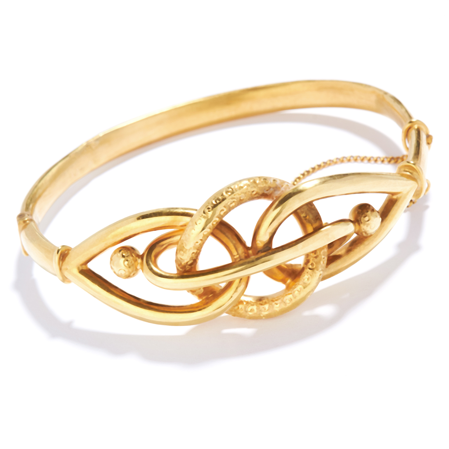 ANTIQUE GOLD KNOT BANGLE in yellow gold, in twisted Celtic knot design, unmarked, 6cm