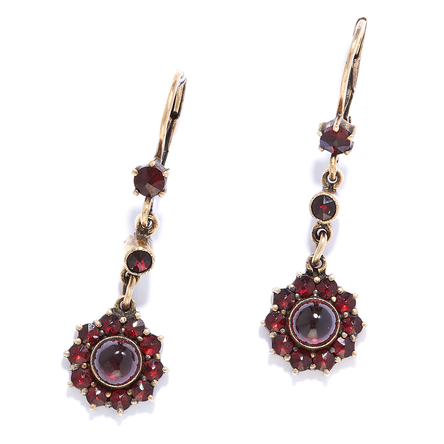 ANTIQUE GARNET DROP EARRINGS in yellow gold, set with rose and cabochon garnets in foliate motif,