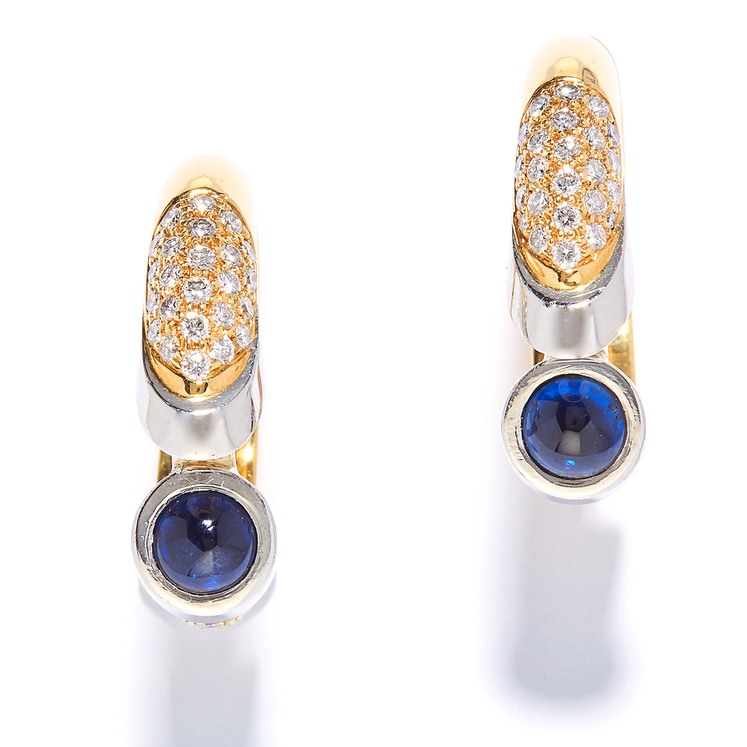 A PAIR OF SAPPHIRE AND DIAMOND HOOP EARRINGS in yellow gold, each set with a cabochon sapphire and