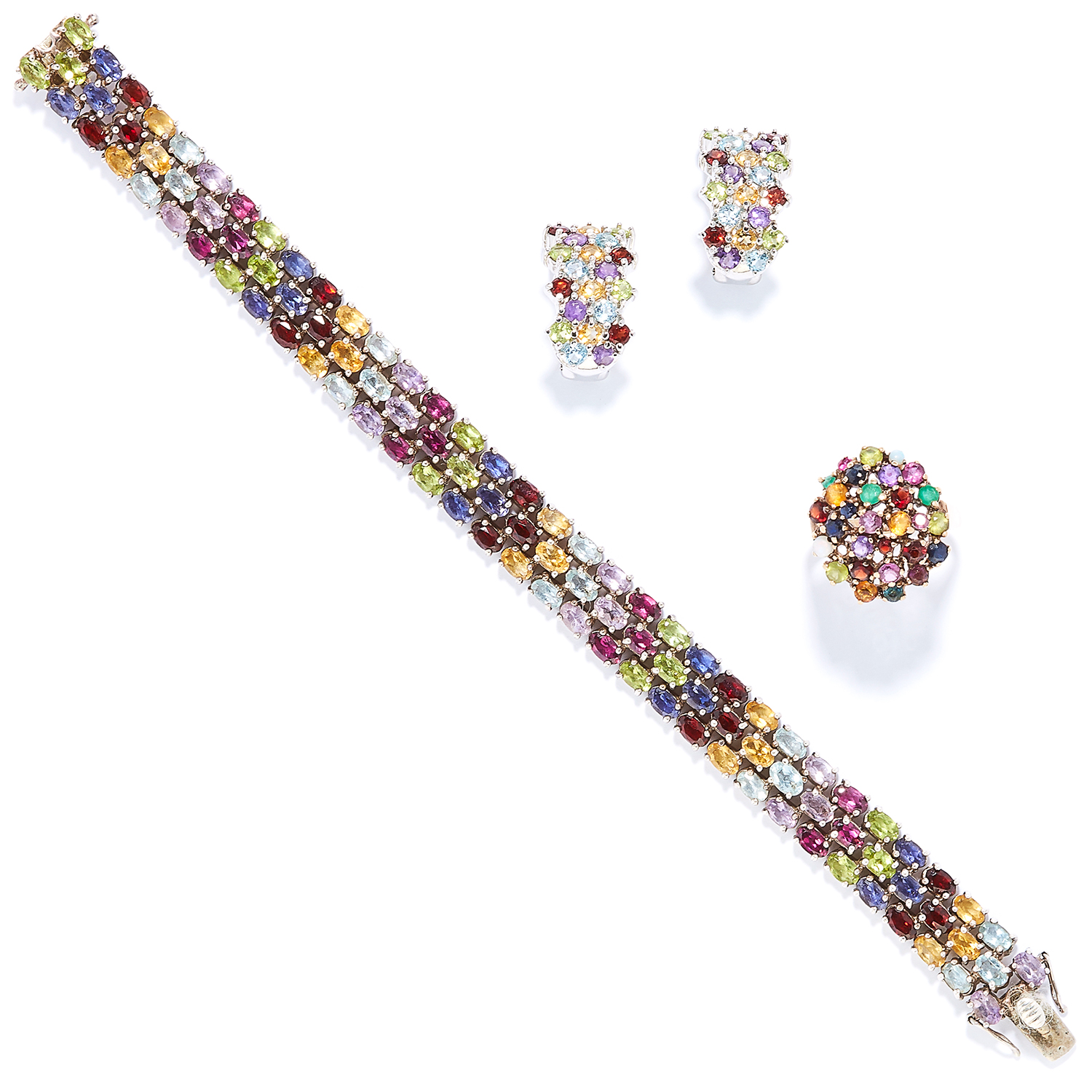 A TUTTI FRUTTI GEM SET BRACELET, EARRINGS AND RING SUITE in yellow gold