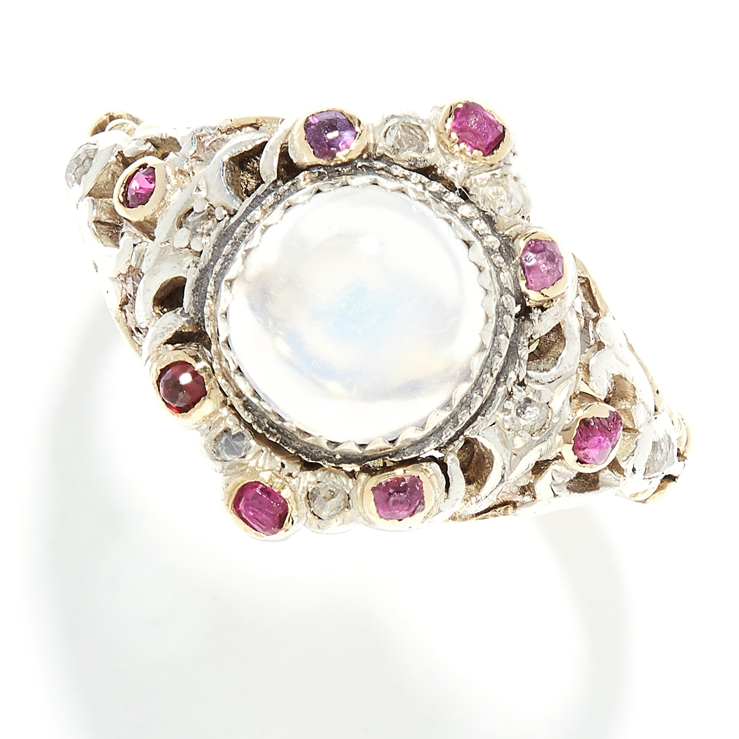MOONSTONE, RUBY AND DIAMOND RING, VICTORIAN in high carat yellow gold, set with a cabochon