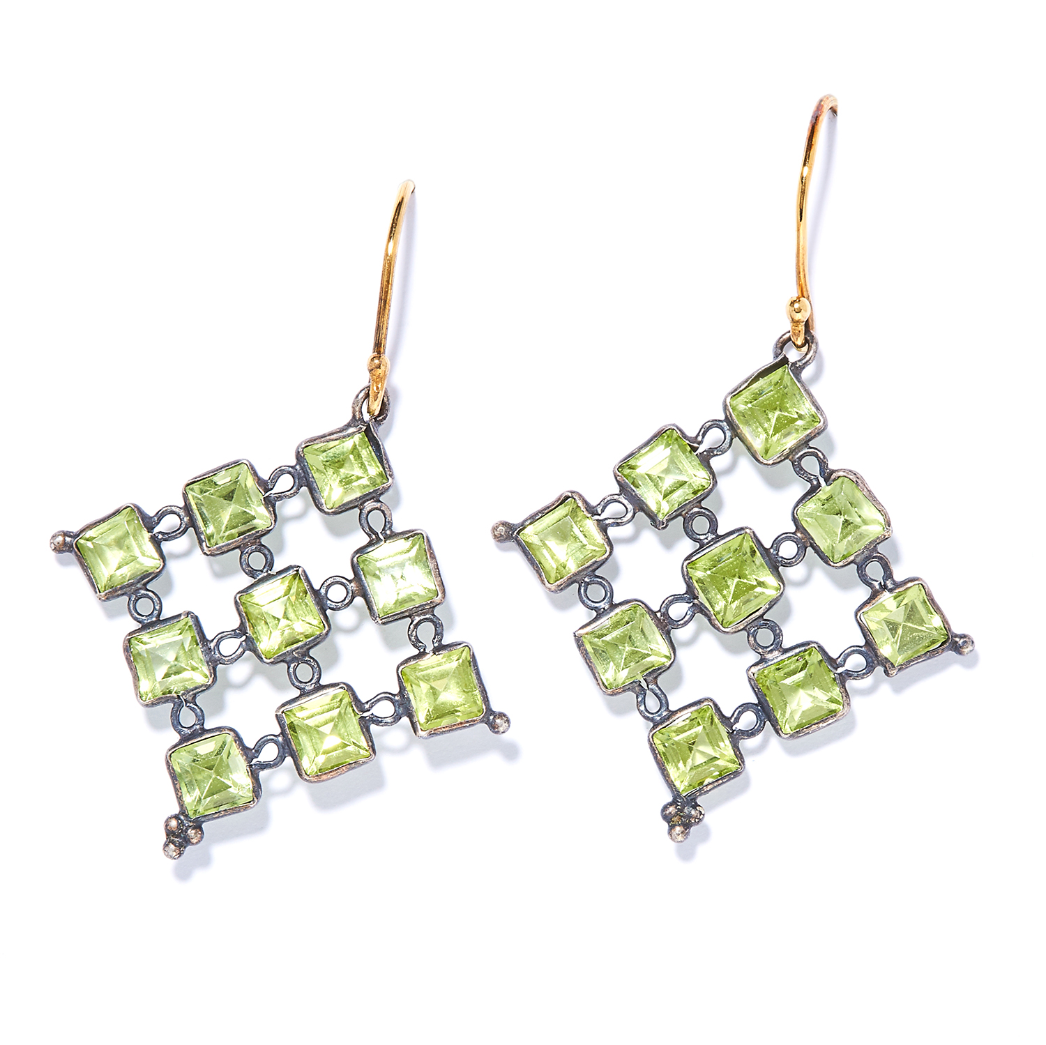PERIDOT EARRINGS each of openwork diamond shaped design set with peridot, unmarked, 4.1cm, 3.0g.