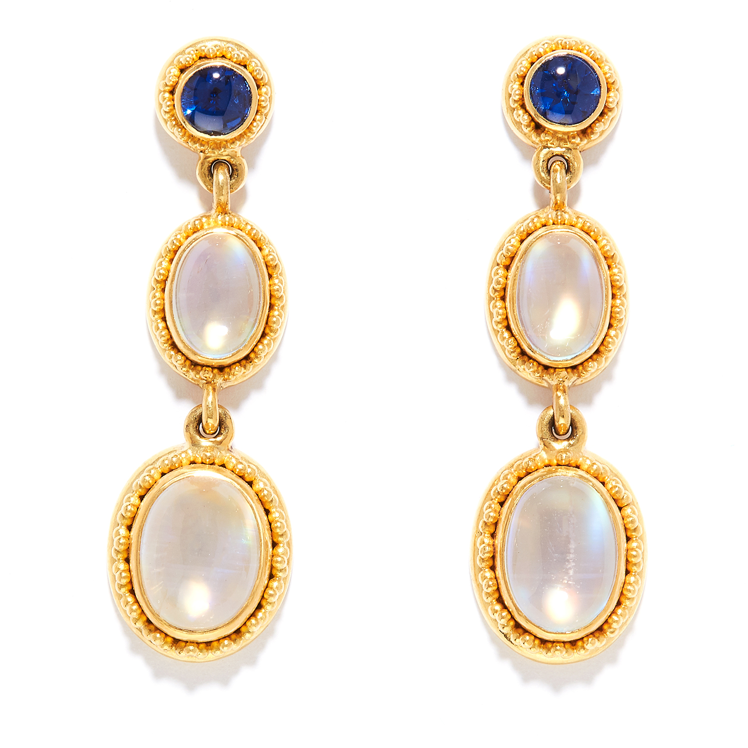 MOONSTONE AND SAPPHIRE DROP EARRINGS in 22ct yellow gold, the three articulated links set with