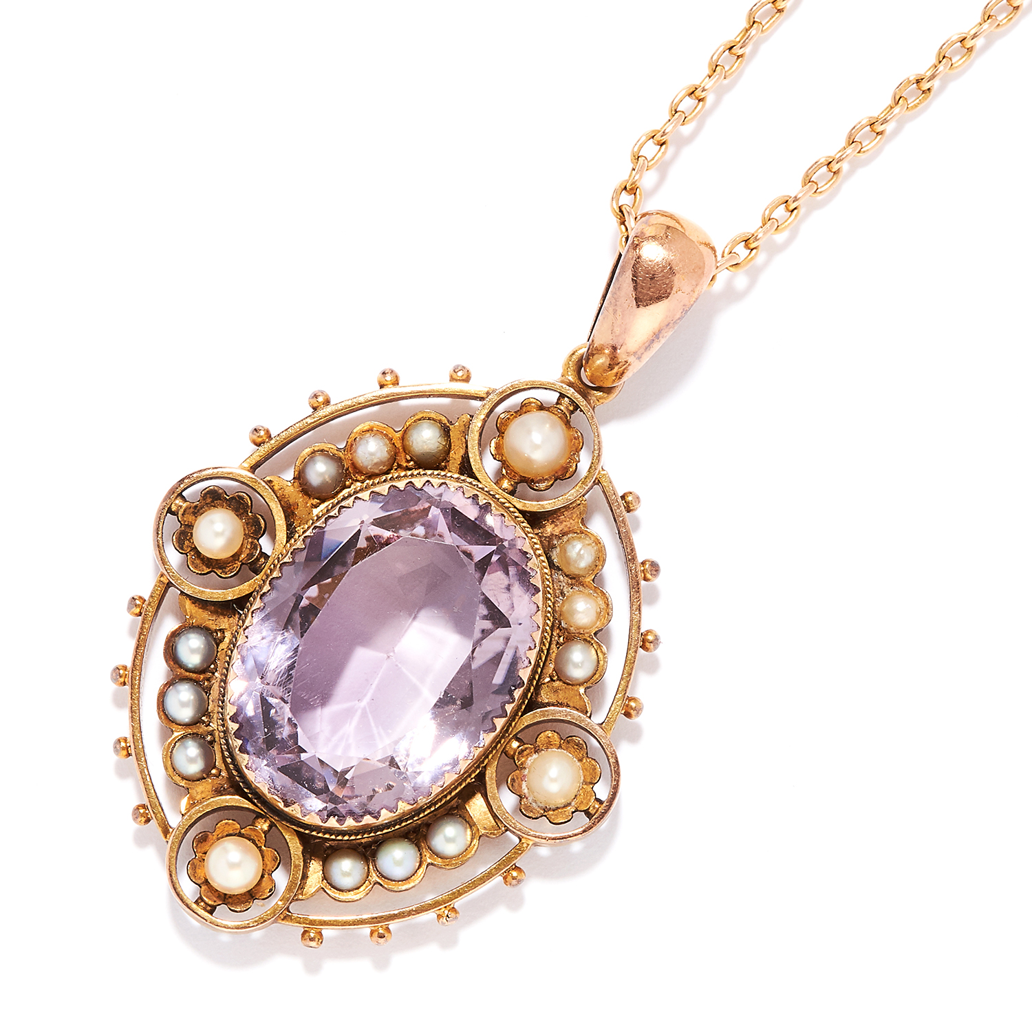 ANTIQUE AMETHYST AND PEARL PENDANT AND CHAIN in 15ct yellow gold, oval cut amethyst within a