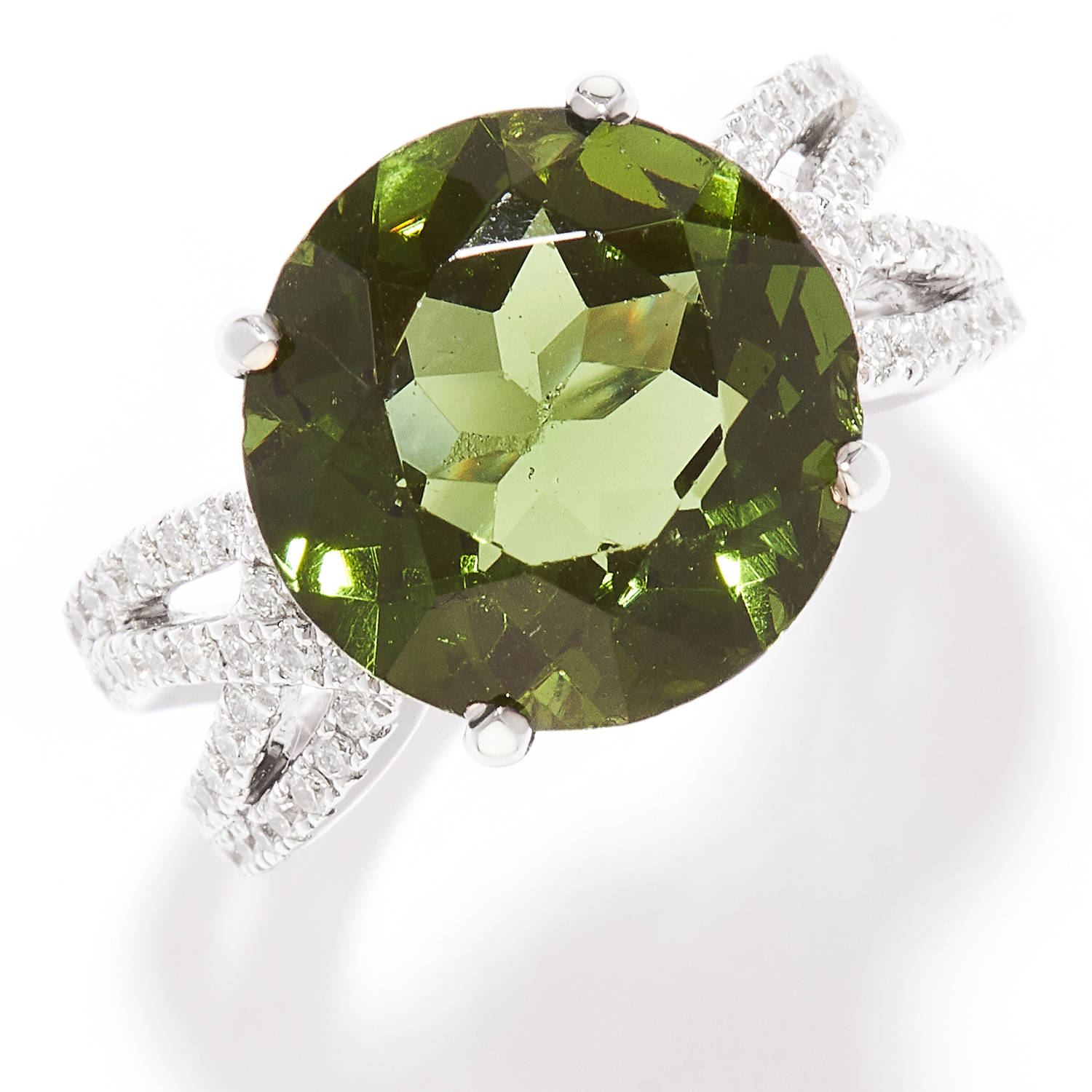 TOURMALINE AND DIAMOND DRESS RING in 18ct white gold, set with a round cut green tourmaline and