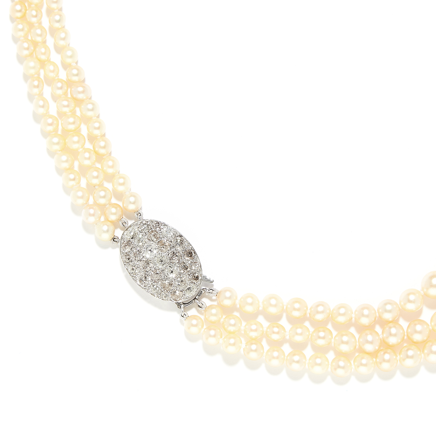 THREE ROW PEARL AND DIAMOND NECKLACE in white gold or platinum, comprising three rows of graduated