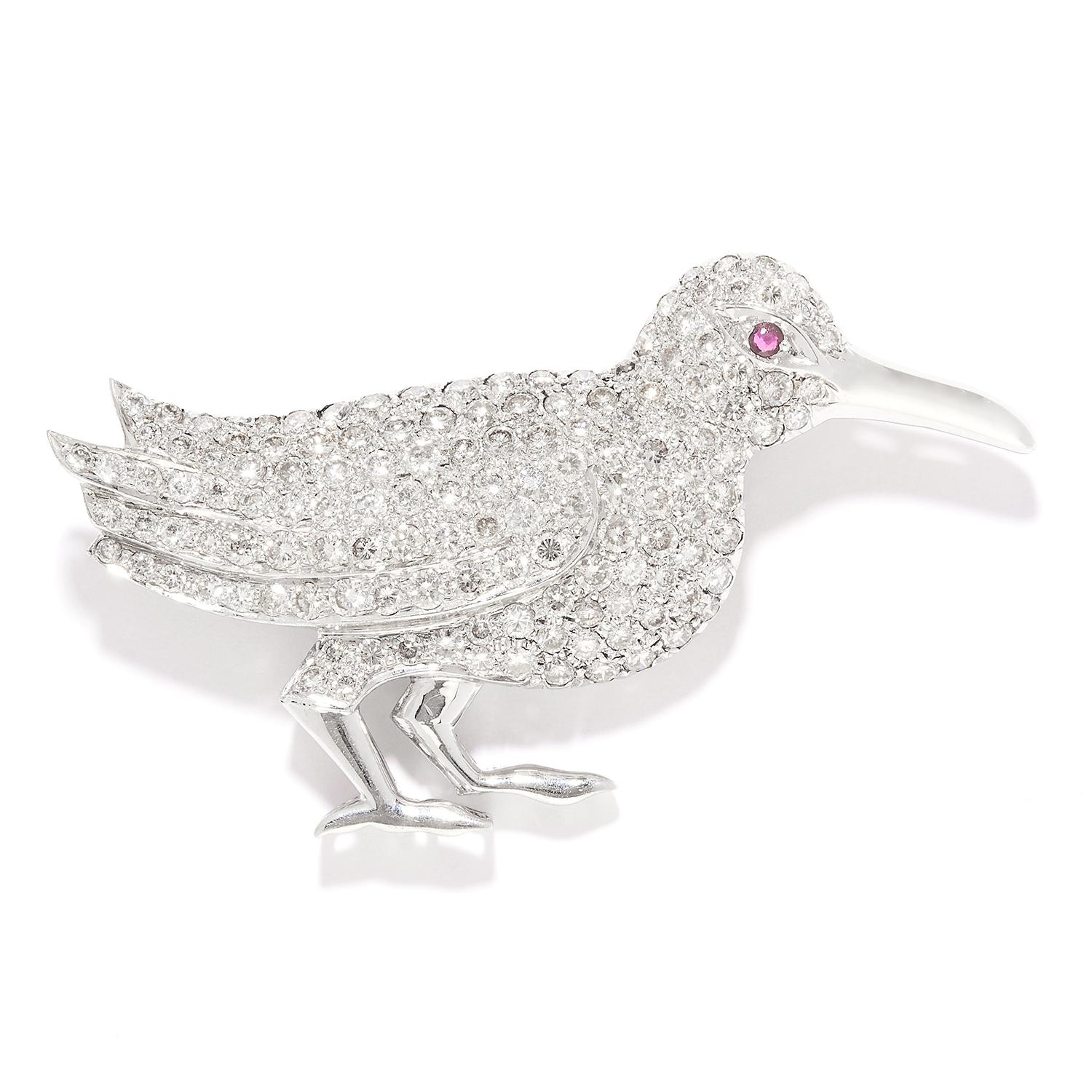 RUBY AND DIAMOND BIRD BROOCH in 18ct white gold, designed as a bird, its body jewelled with round