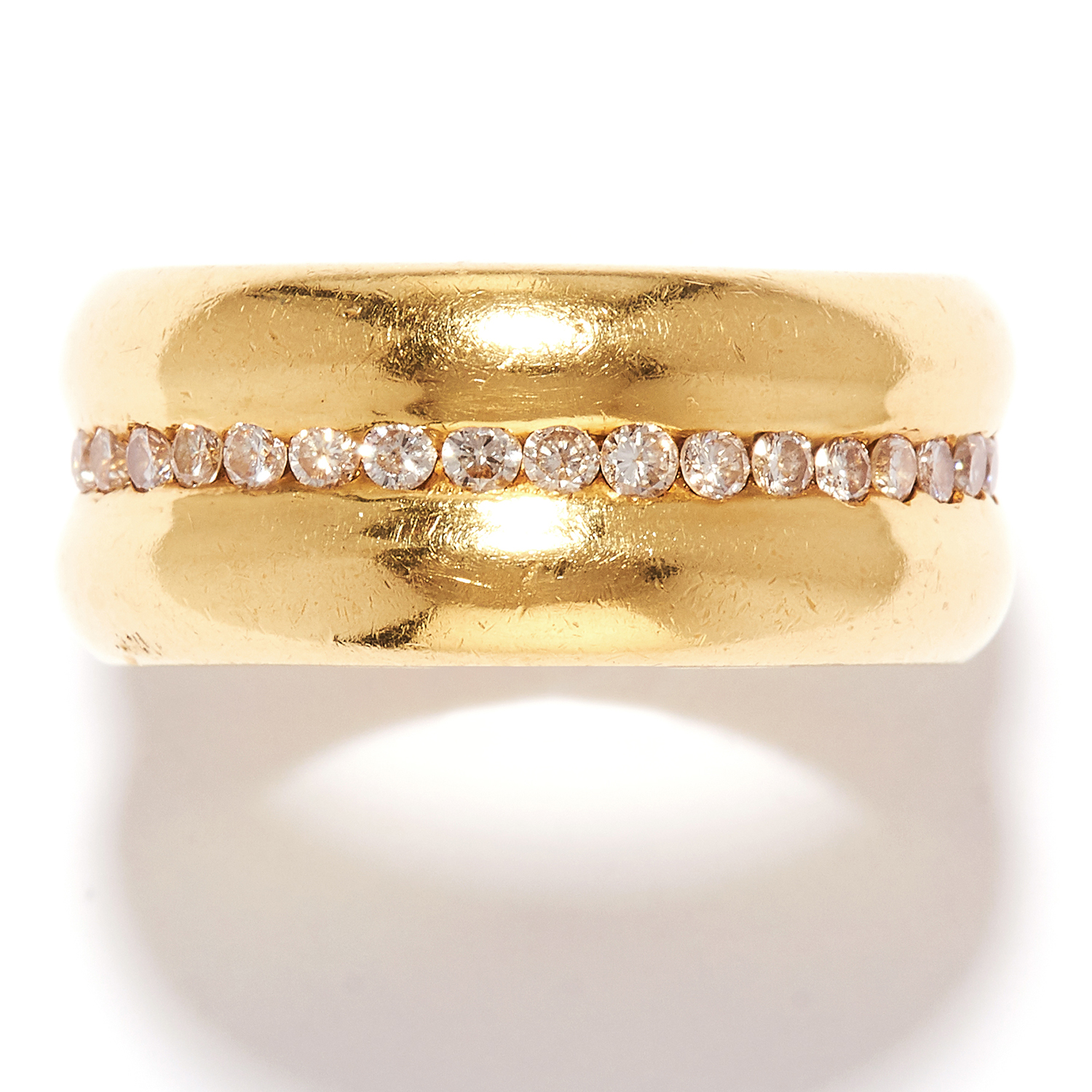 DIAMOND ETERNITY BAND RING in 18ct yellow gold, the double band with a row of round cut diamonds,