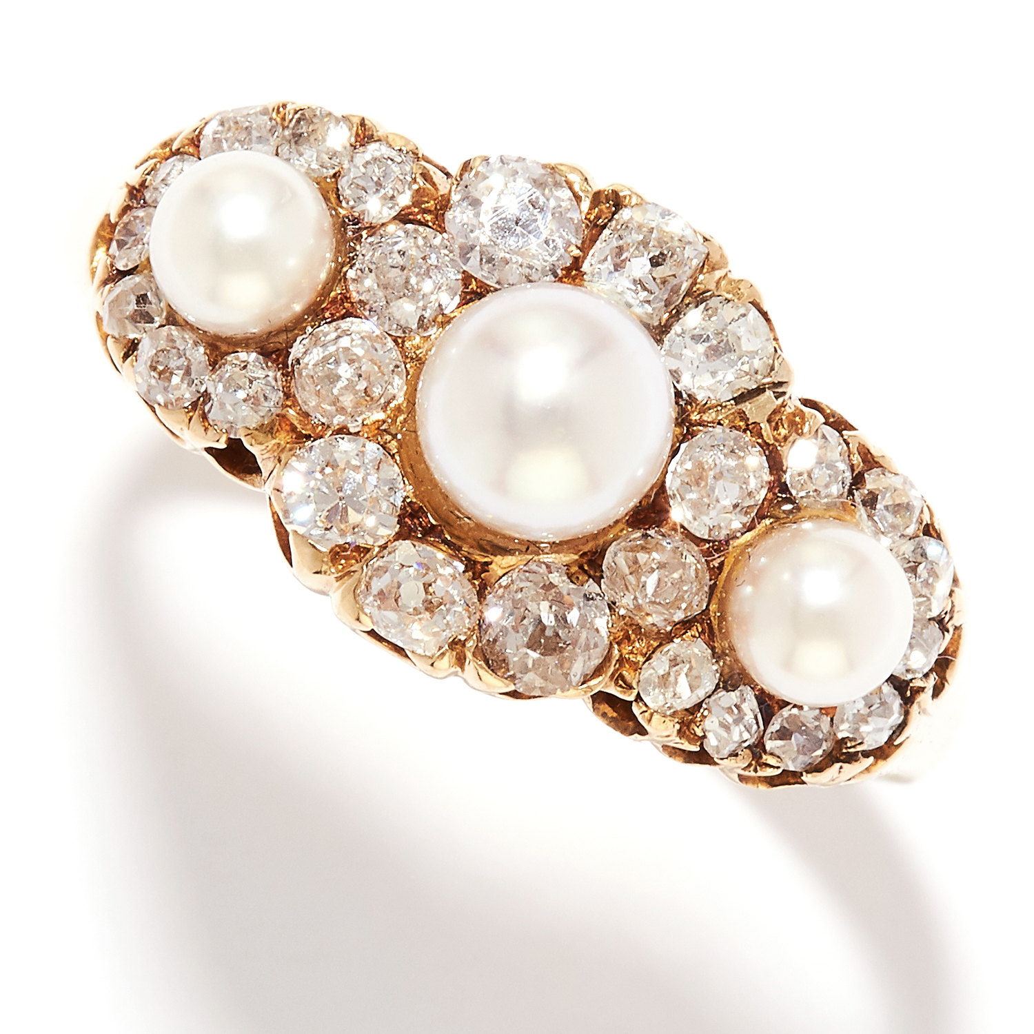 PEARL AND DIAMOND DRESS RING in 18ct yellow gold, set with three pearls in a cluster of old cut