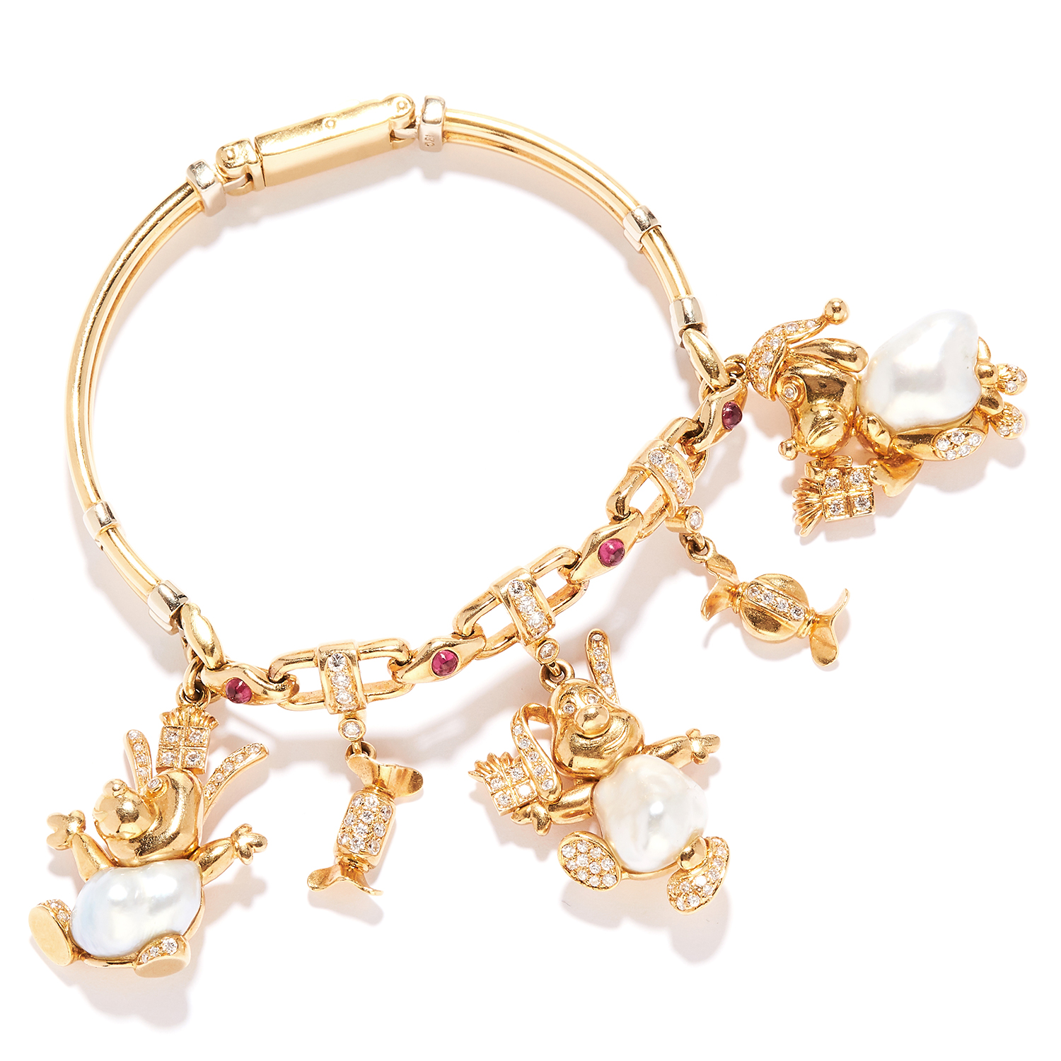 PEARL, RUBY AND DIAMOND CHARM BRACELET in 18ct yellow gold, the fancy link bracelet suspending