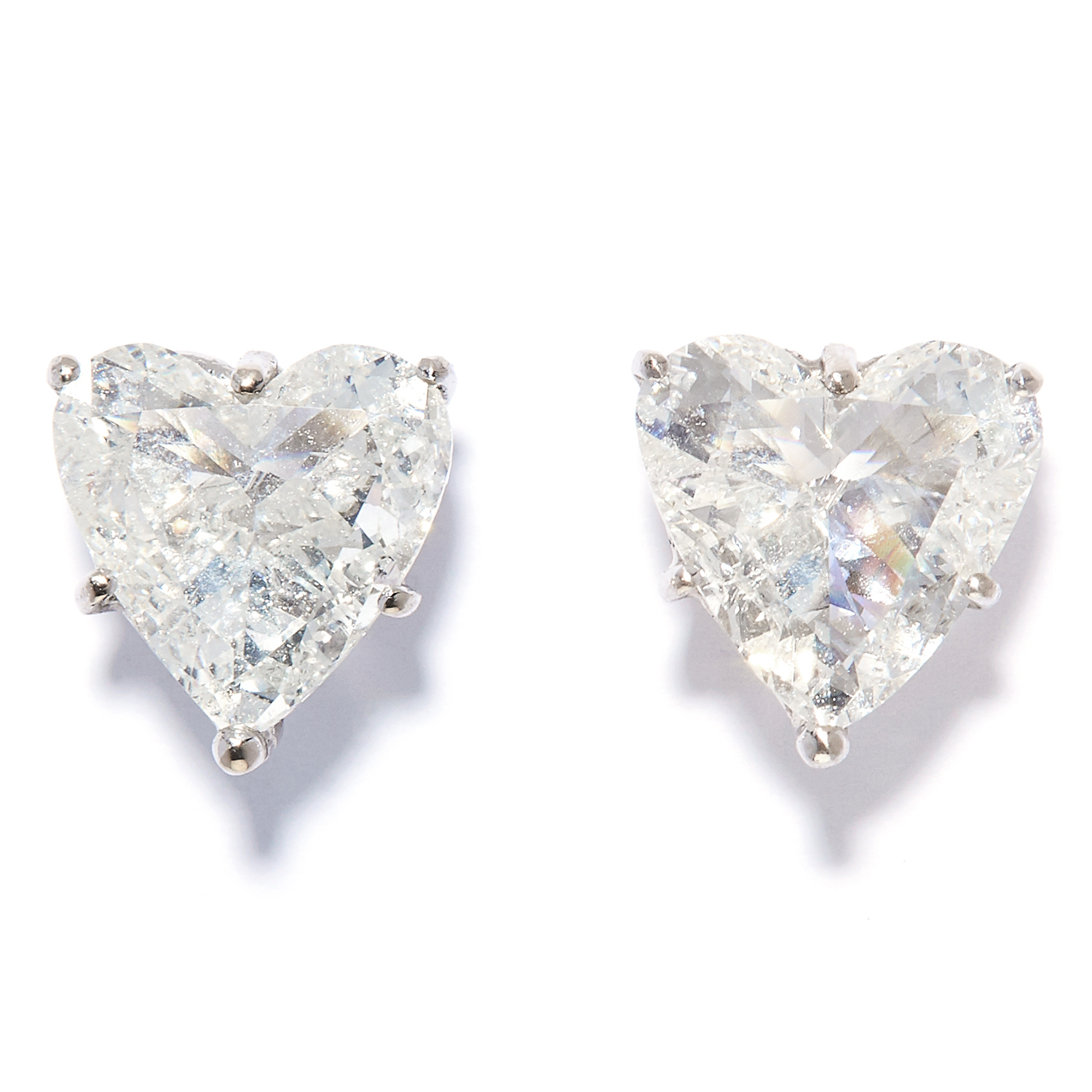 PAIR OF 3.15 CARAT HEART DIAMOND STUD EARRINGS in 18ct white gold, each set with a heart cut diamond