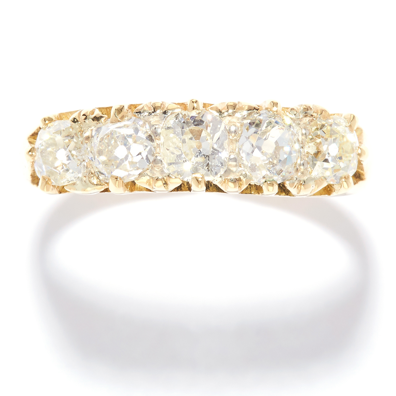 ANTIQUE 1.85 CARAT FIVE STONE DIAMOND RING in 18ct yellow gold, set with five old cut diamonds