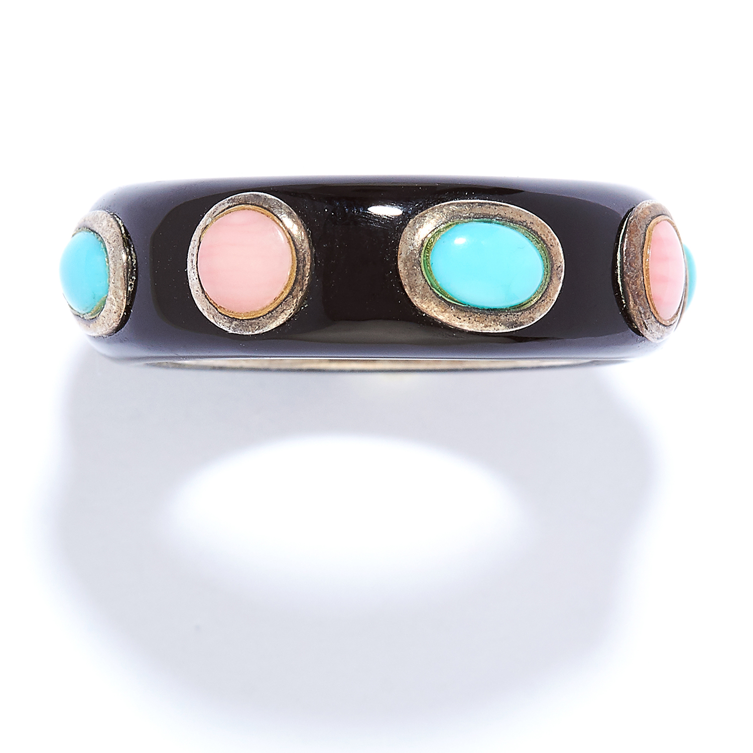 TURQUOISE, HARDSTONE AND ENAMEL RING in sterling silver, the black enamel studded with red hardstone