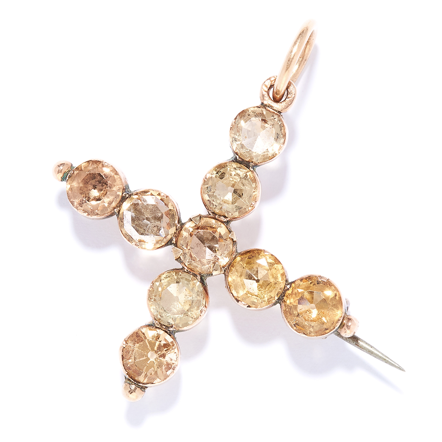 ANTIQUE TOPAZ CROSS BROOCH / PENDANT in high carat yellow gold, set with round cut topaz,