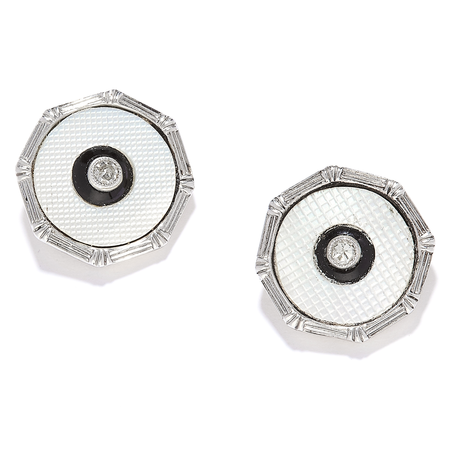 A PAIR OF ANTIQUE ENAMEL, DIAMOND AND ONYX EAR STUDS in 18ct yellow gold and platinum, each set with