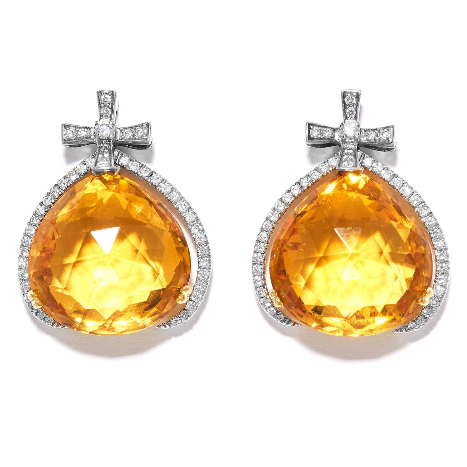 CITRINE AND DIAMOND EARRINGS in 18ct white and yellow gold, the pear shaped citrines suspended