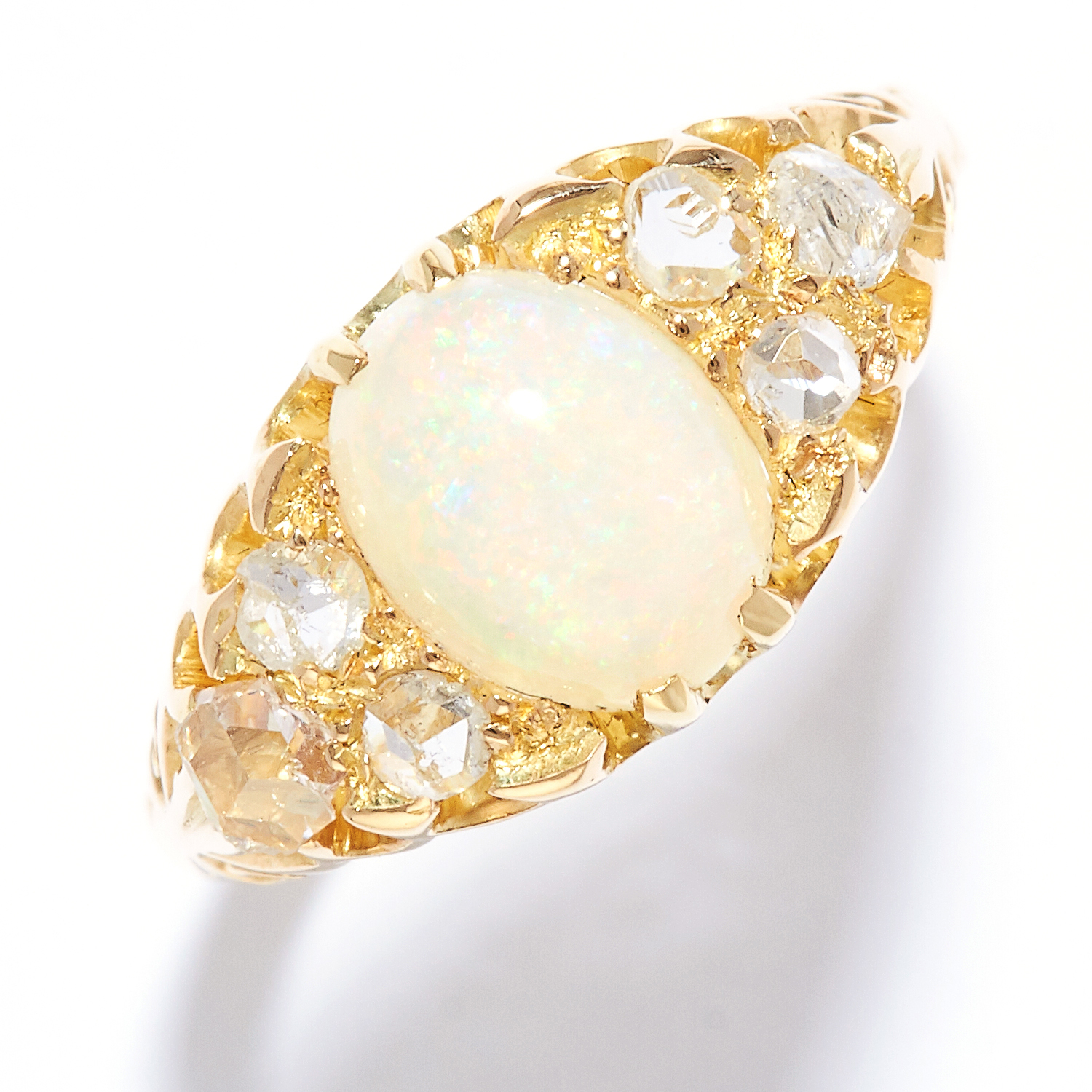 ANTIQUE OPAL AND DIAMOND DRESS RING in high carat yellow gold, set with a cabochon opal and rose cut