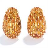 VINTAGE MADEIRA CITRINE CLIP EARRINGS in 18ct yellow gold, set allover with baguette cut citrines,