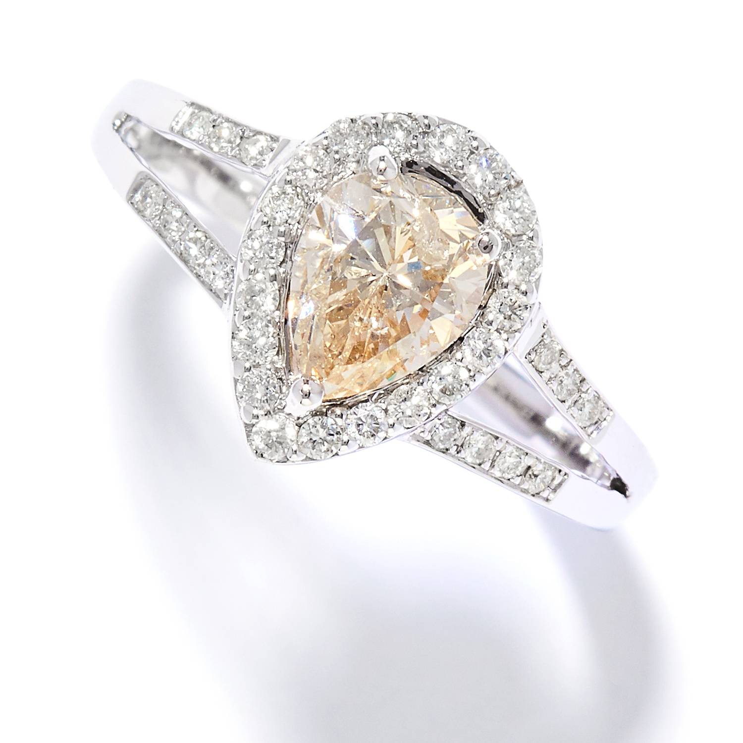 Los 16 - 1.01 CARAT DIAMOND DRESS RING in 18ct white gold, comprising of a pear cut diamond of