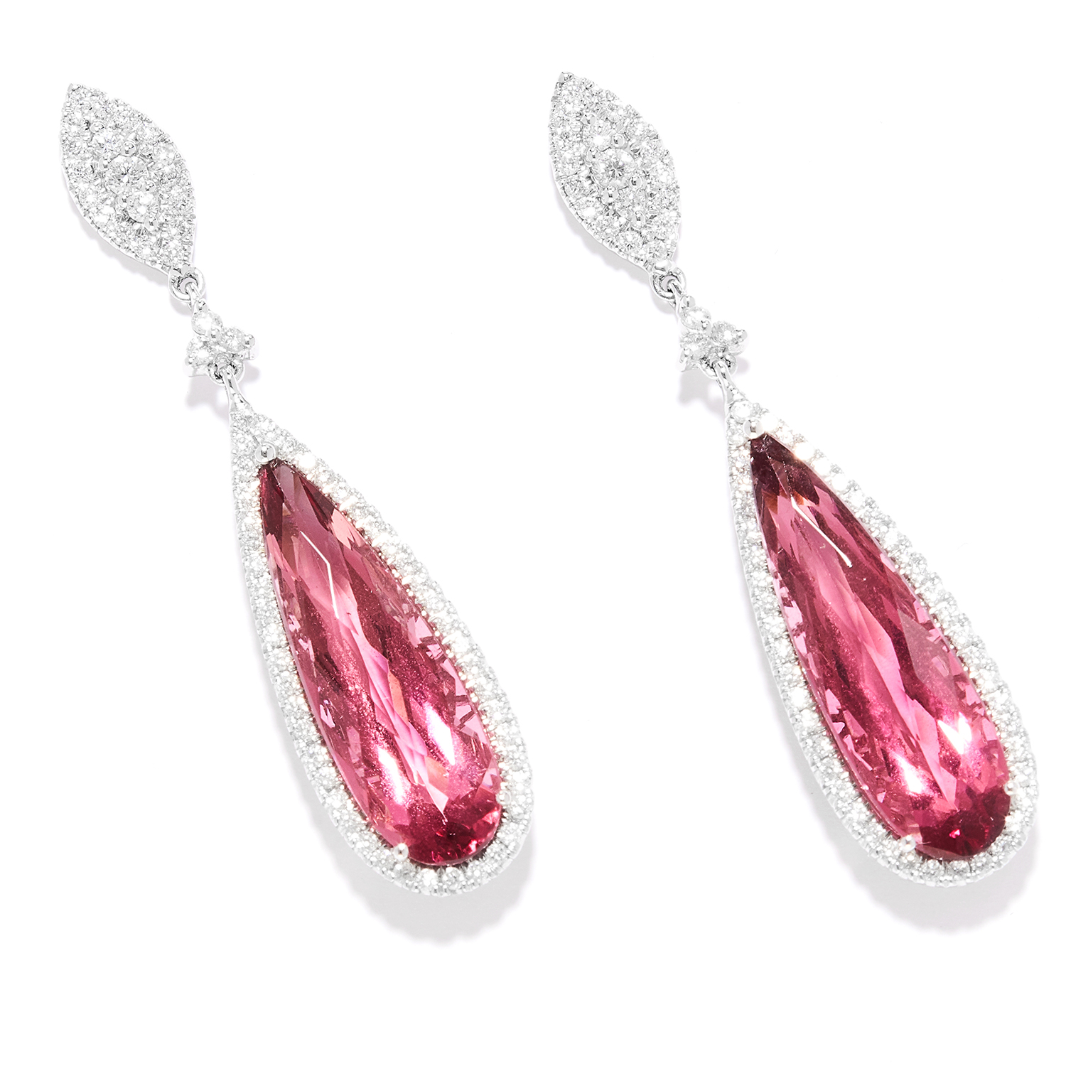 TOURMALINE AND DIAMOND DROP EARRINGS in 18ct white gold, each set with round cut diamonds suspending