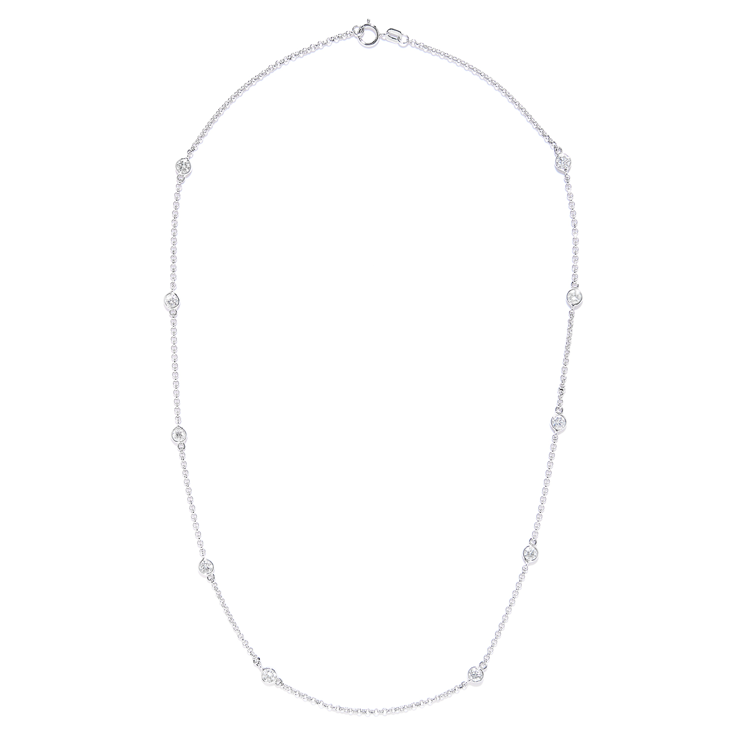 Los 1 - 1.85 CARAT DIAMOND CHAIN NECKLACE in 18ct white gold, set with ten round cut diamonds totalling