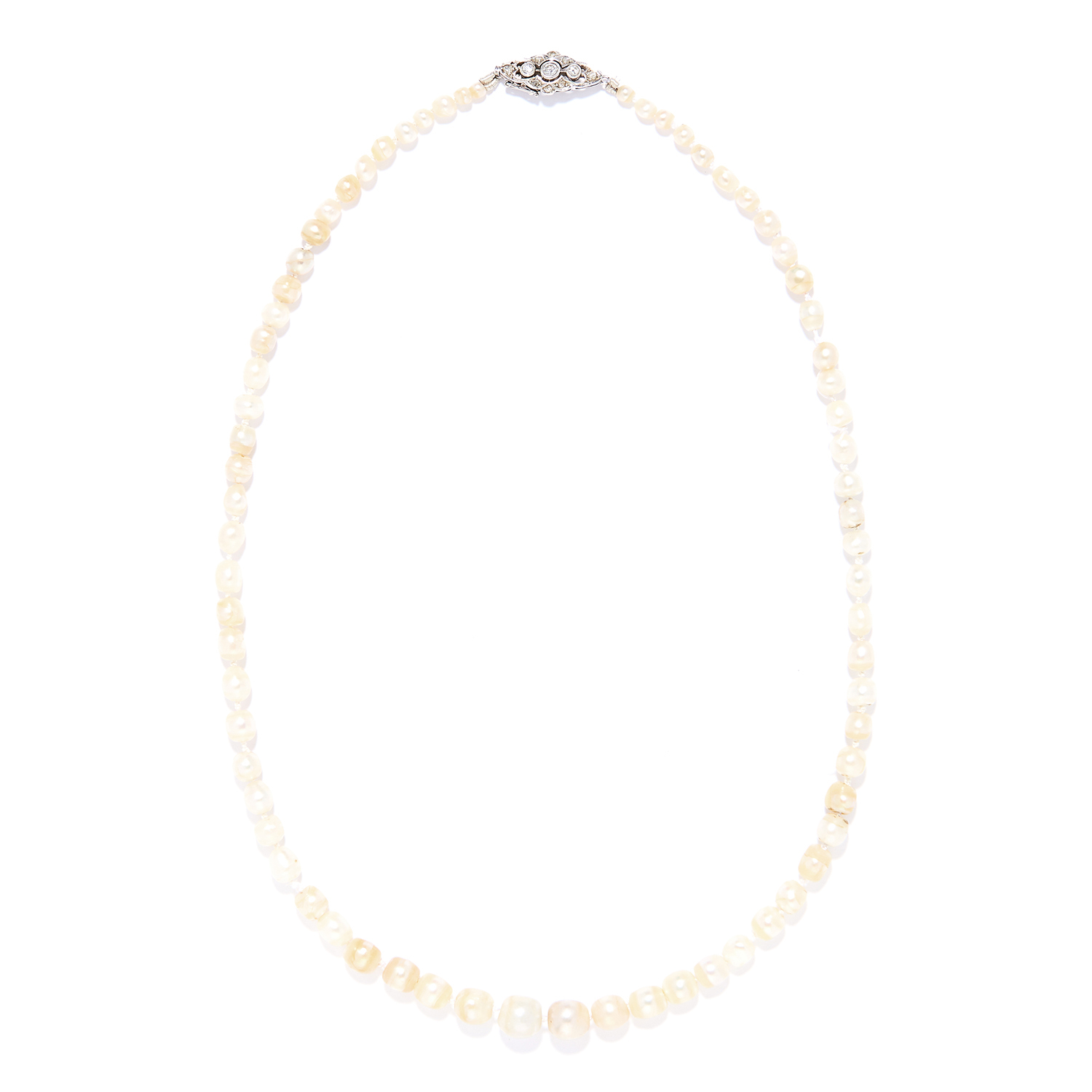 ANTIQUE NATURAL PEARL AND DIAMOND NECKLACE in platinum or white gold, comprising a single row of