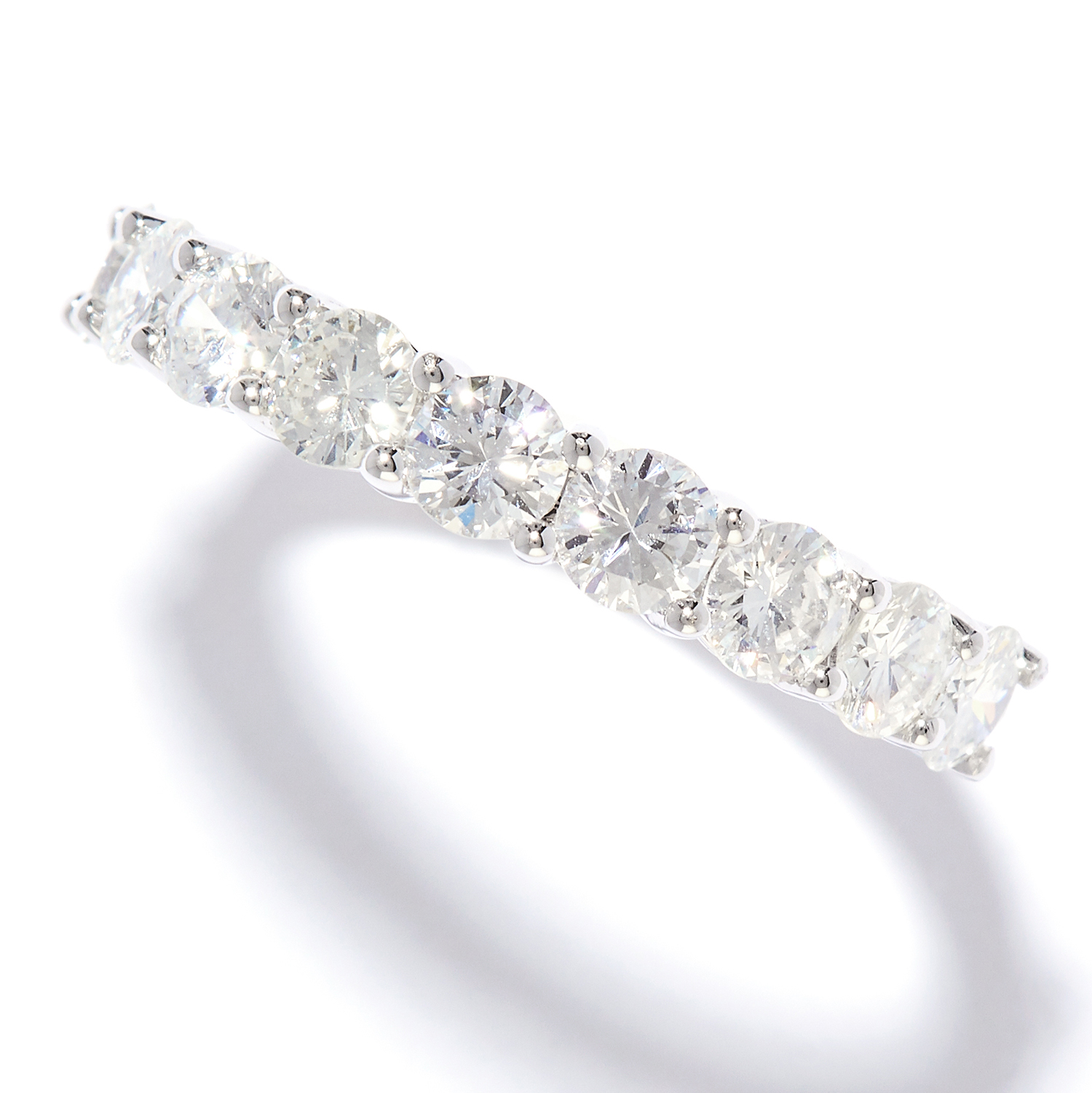 1.02 CARAT DIAMOND RING in 18ct white gold, set with nine round cut diamonds totalling approximately