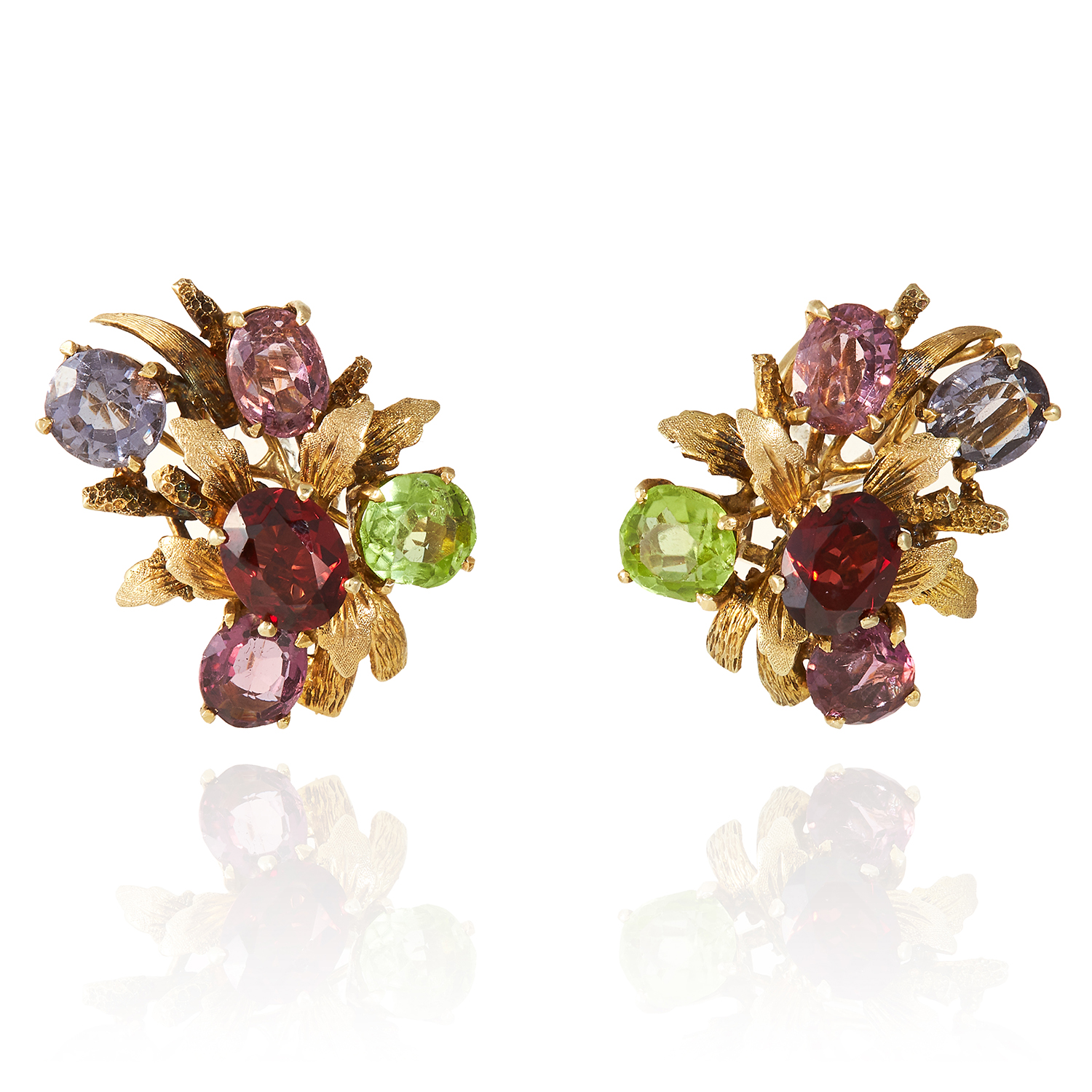 A PAIR OF GEMSET EARRINGS in yellow gold, set with various oval cut gems including garnet, peridot