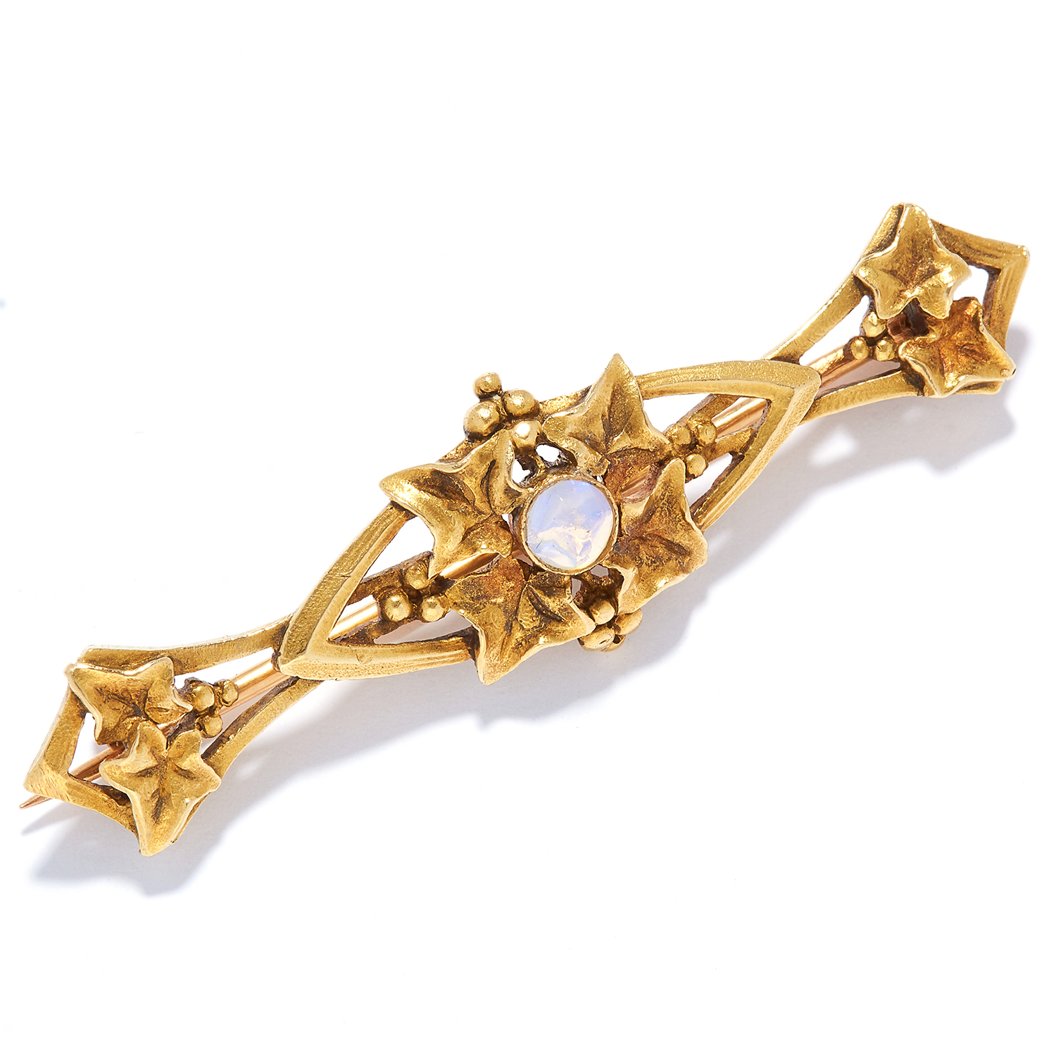 AN OPAL BAR BROOCH, FRENCH in high carat yellow gold, in Art Nouveau design set with a cabochon - Bild 2 aus 2