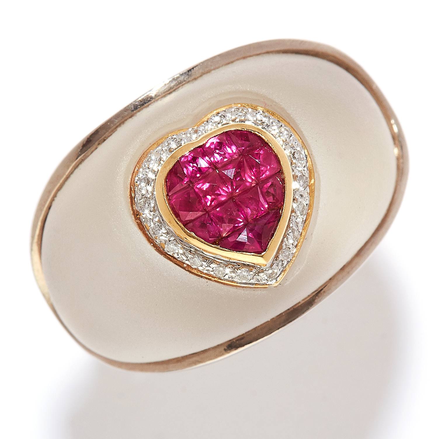 RUBY, DIAMOND AND ROCK CRYSTAL RING in 18ct yellow and white gold, bombe design, the rock crystal