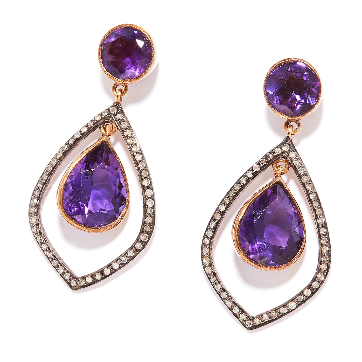 AMETHYST AND DIAMOND EARRINGS in silver and yellow gold, pear cut amethysts within diamond halos