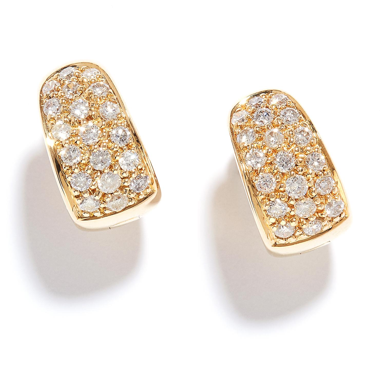 DIAMOND HOOP EARRINGS in 18ct yellow gold, each hoop designed as three half rows of round cut