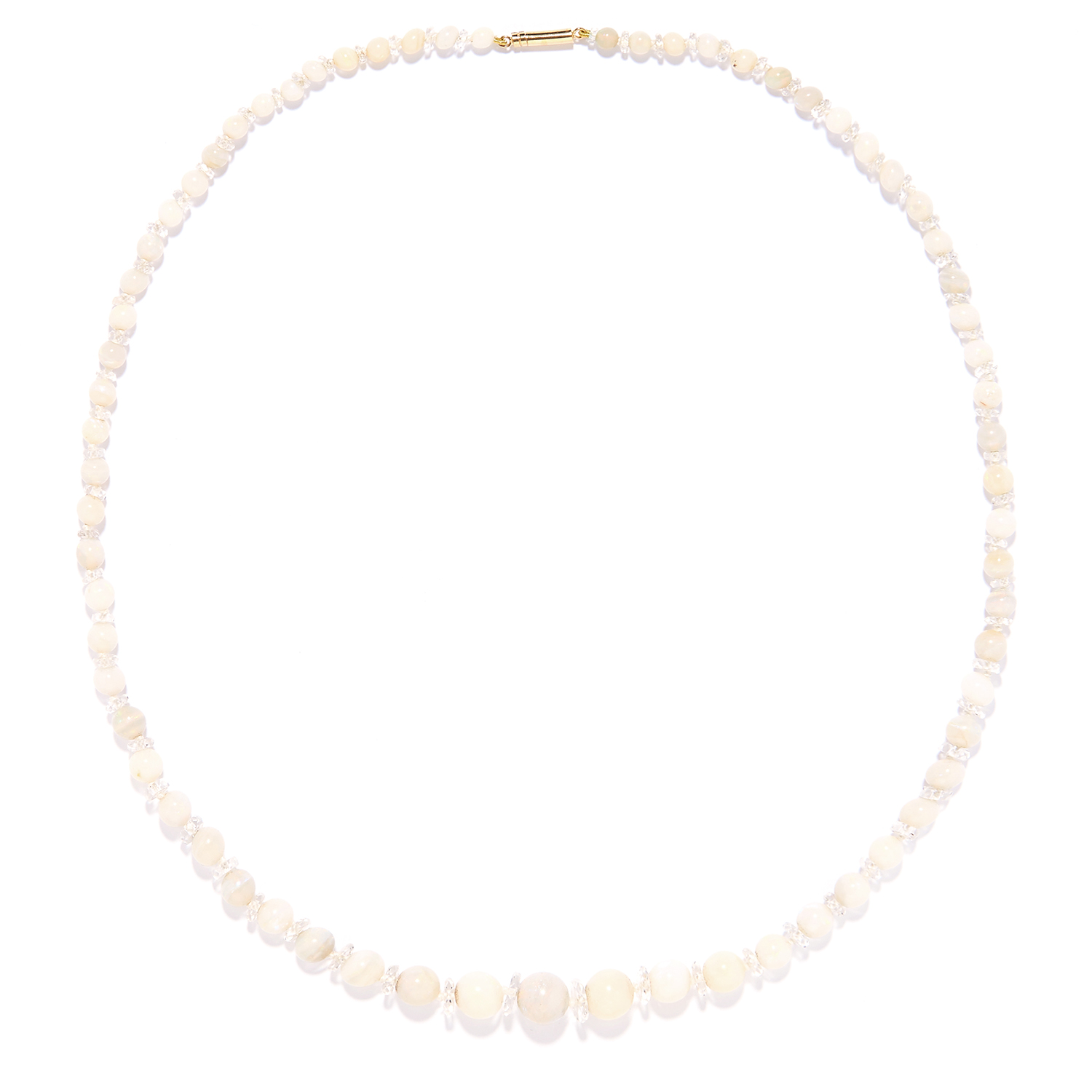 Los 133 - OPAL BEAD AND ROCK CRYSTAL NECKLACE comprising of a single row of opal beads and faceted rock