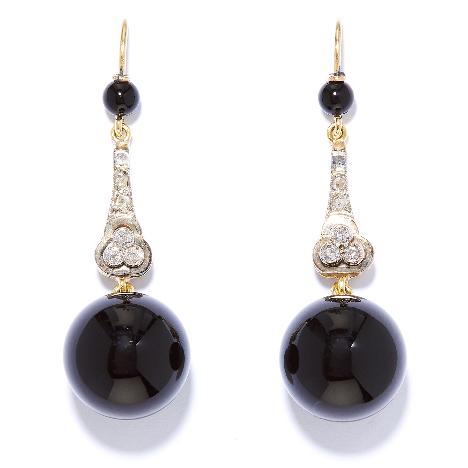 ART DECO ONYX AND DIAMOND DROP EARRINGS in high carat yellow gold and platinum, suspending