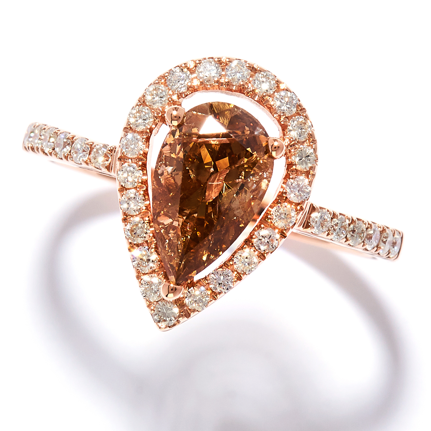 1.08 CARAT FANCY BROWN DIAMOND DRESS RING in 18ct rose gold, set with a pear cut brown diamond of