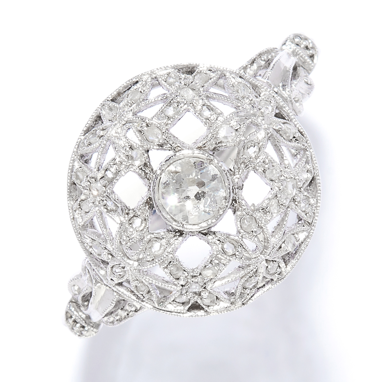 ANTIQUE DIAMOND DRESS RING in 18ct white gold, set with an old and rose cut diamonds in open