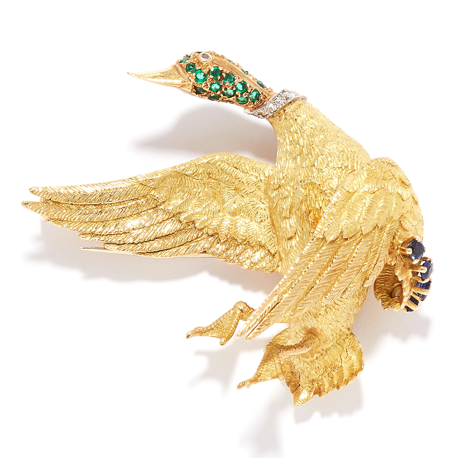 EMERALD, SAPPHIRE AND DIAMOND DUCK BROOCH, GEORGES LENFENT FOR HERMES in 18ct yellow gold, depicting