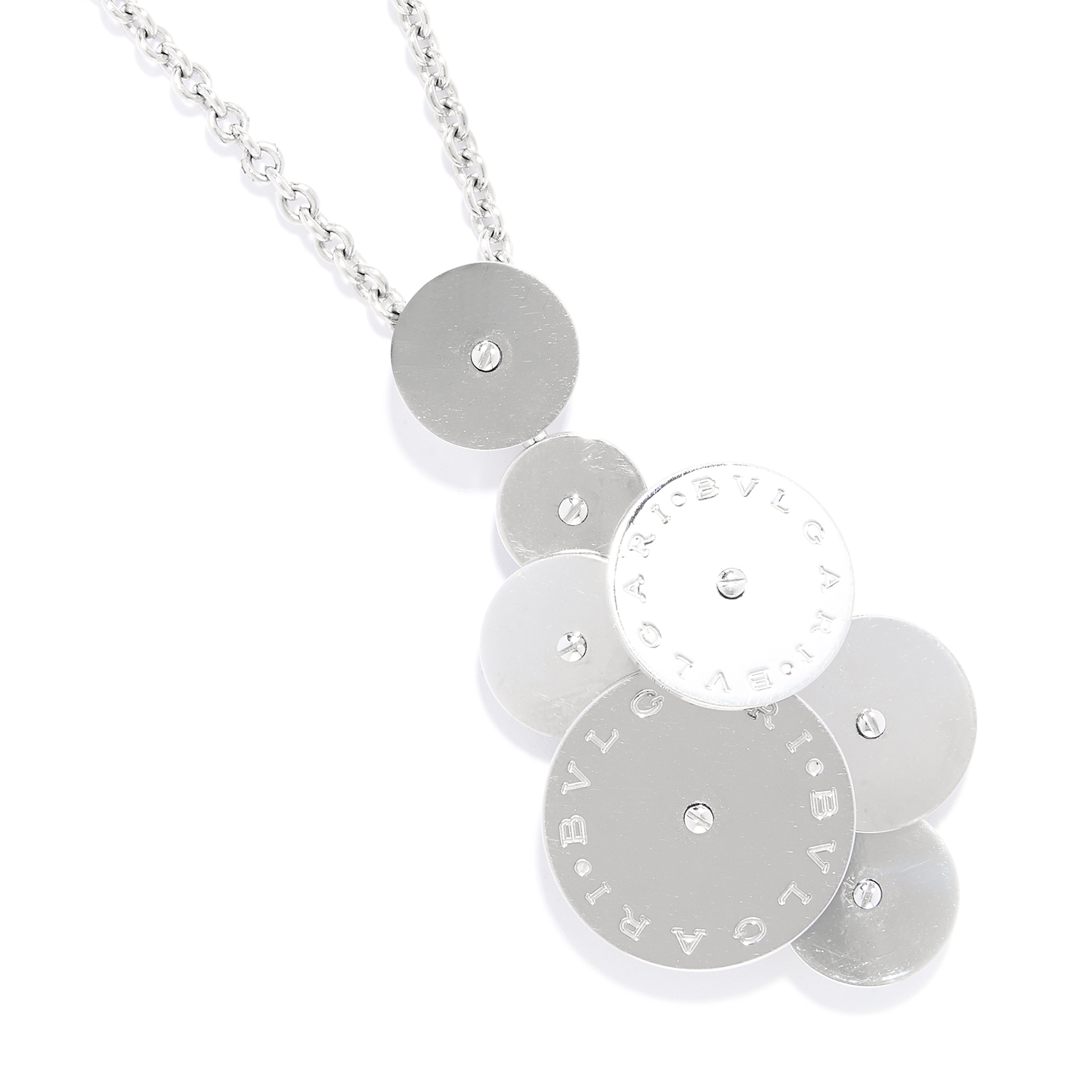 CICLADI SPINNING DISC PENDANT NECKLACE AND CHAIN, BULGARI in 18ct yellow gold, formed of an array of