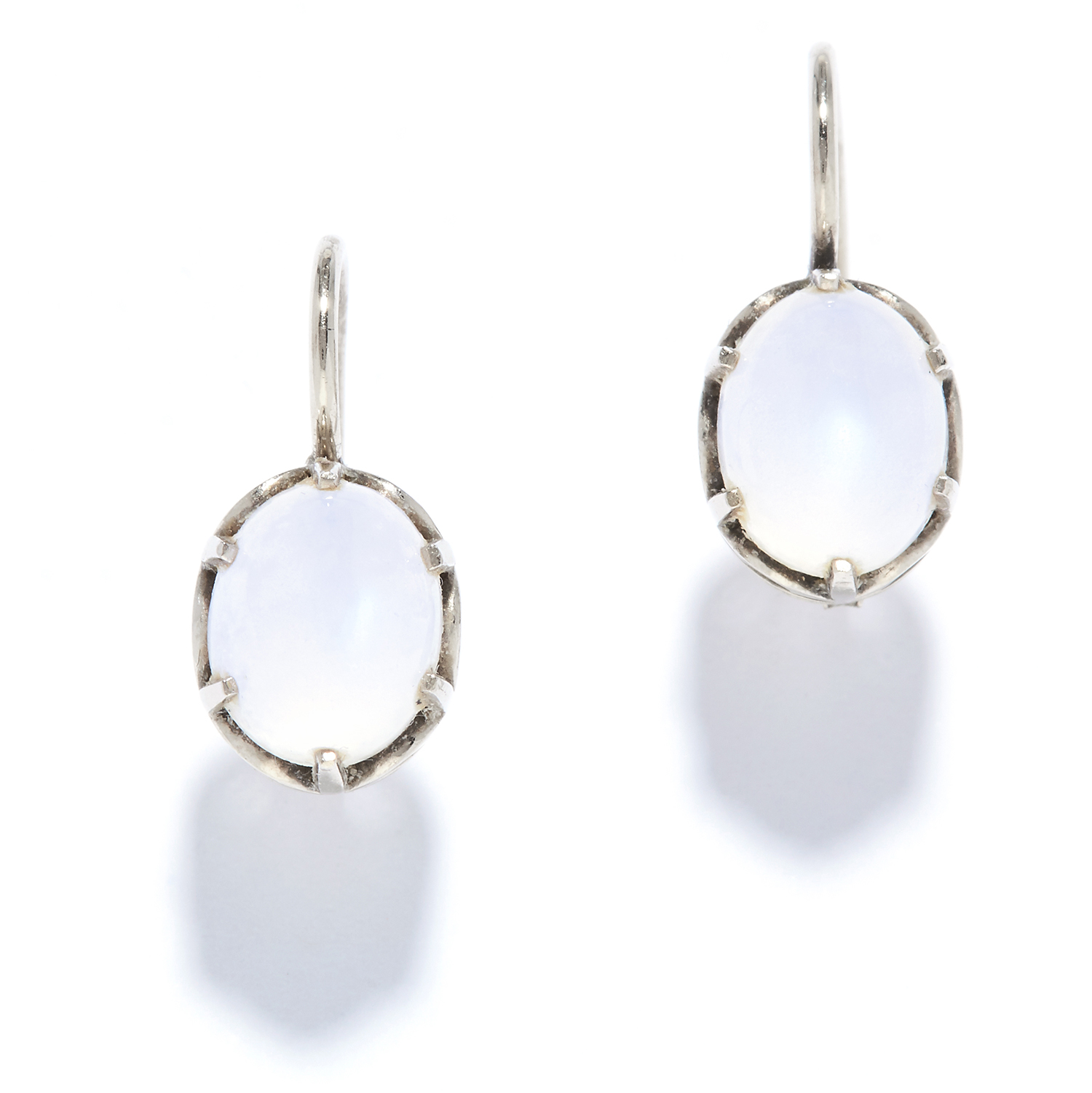 A PAIR OF MOONSTONE EARRINGS in 14ct white gold, each set with a cabochon moonstone, stamped 14K,