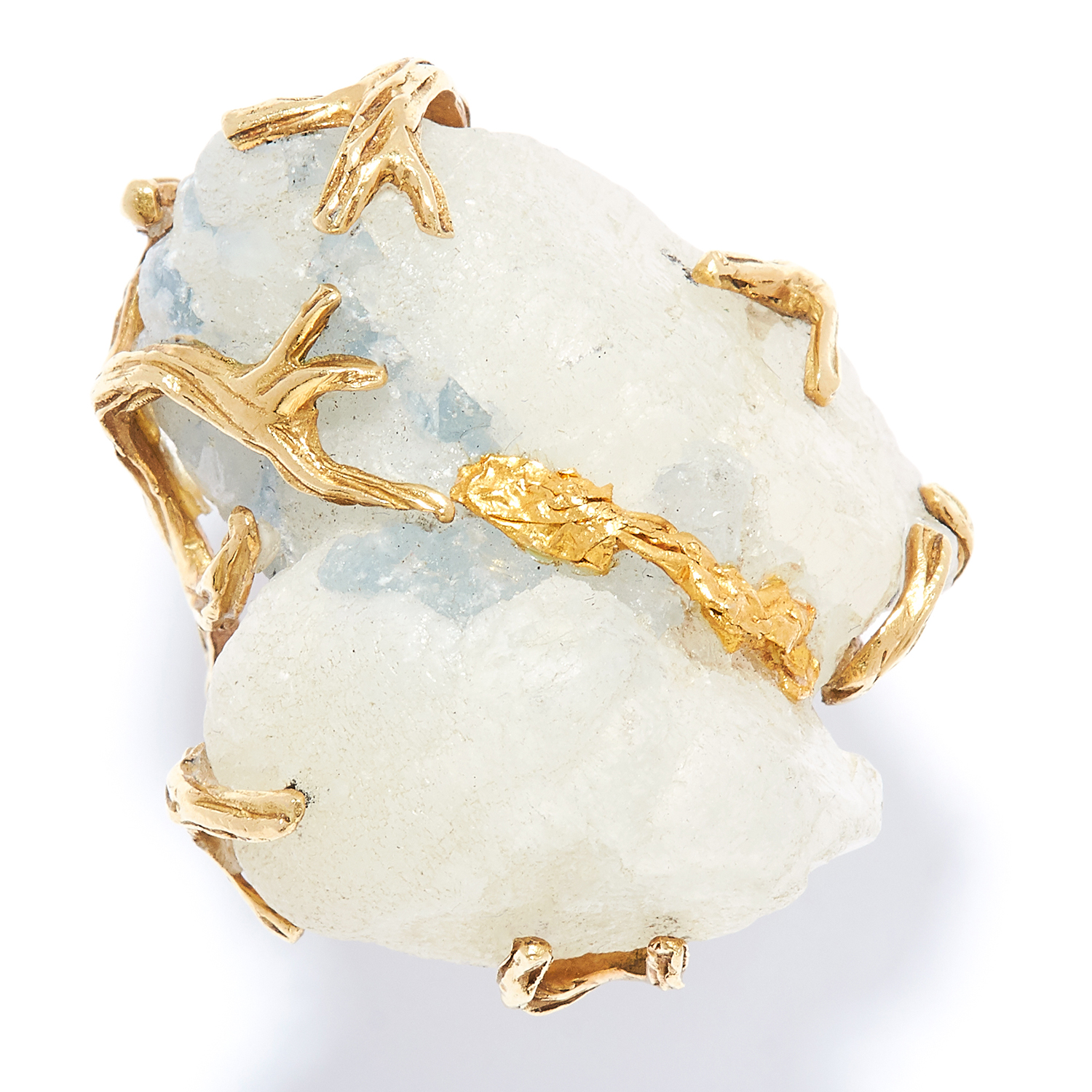 QUARTZ DRESS RING in high carat yellow gold, set with rough cut quartz in abstract gold design,