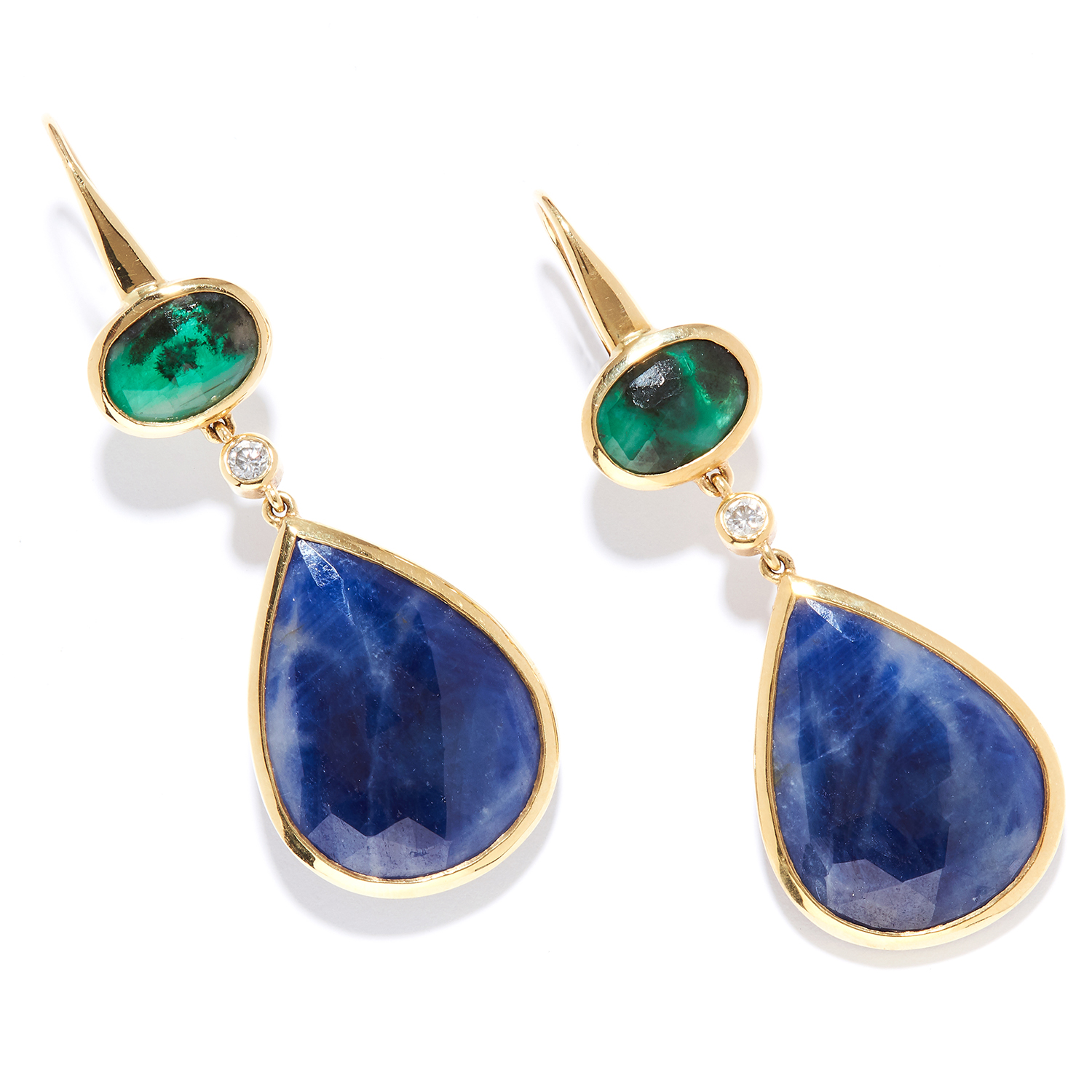 SAPPHIRE, EMERALD AND DIAMOND EARRINGS in 18ct yellow gold, articulated bodies set with rose cut