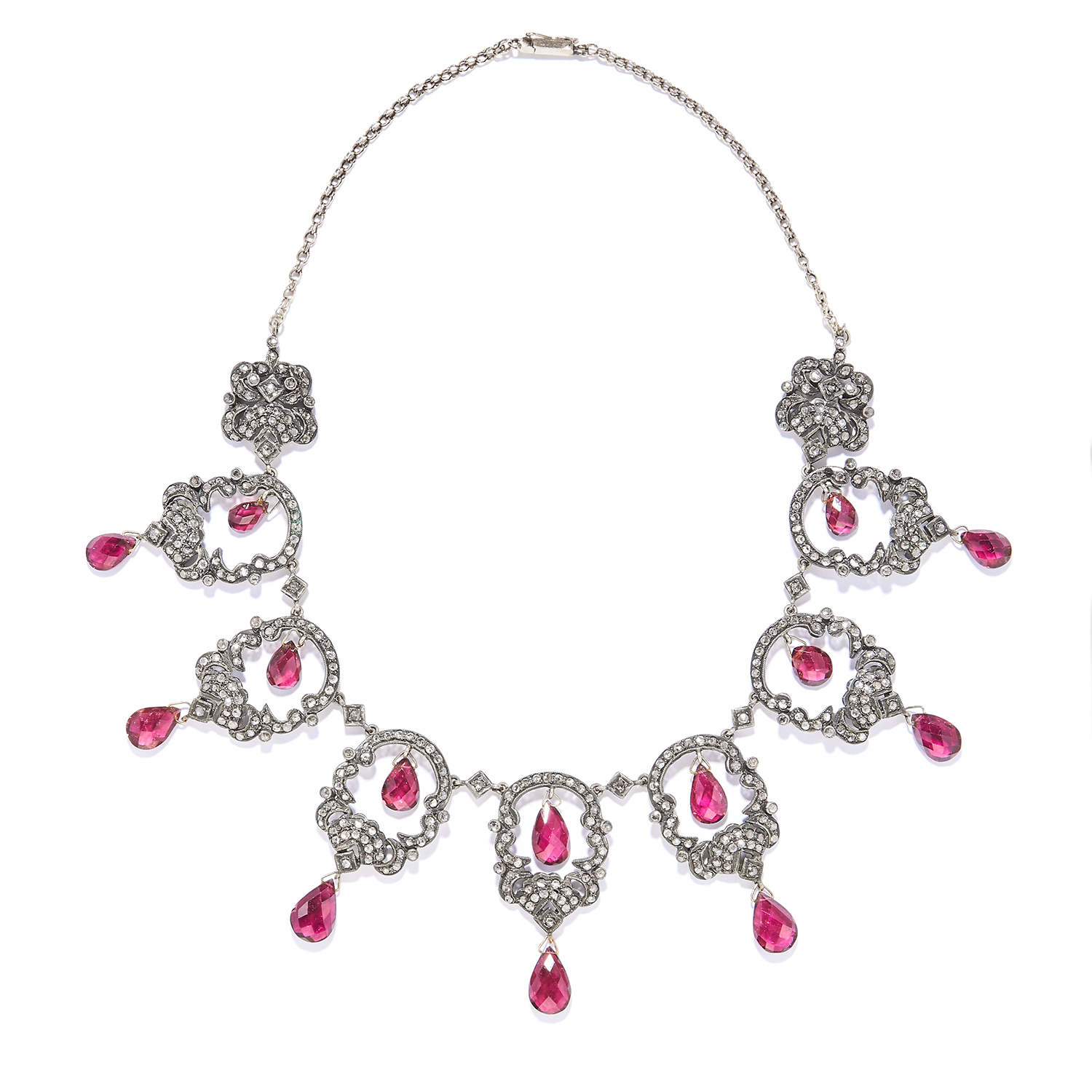 AN ANTIQUE TOURMALINE AND DIAMOND NECKLACE, 19TH CENTURY in yellow gold and silver, openwork