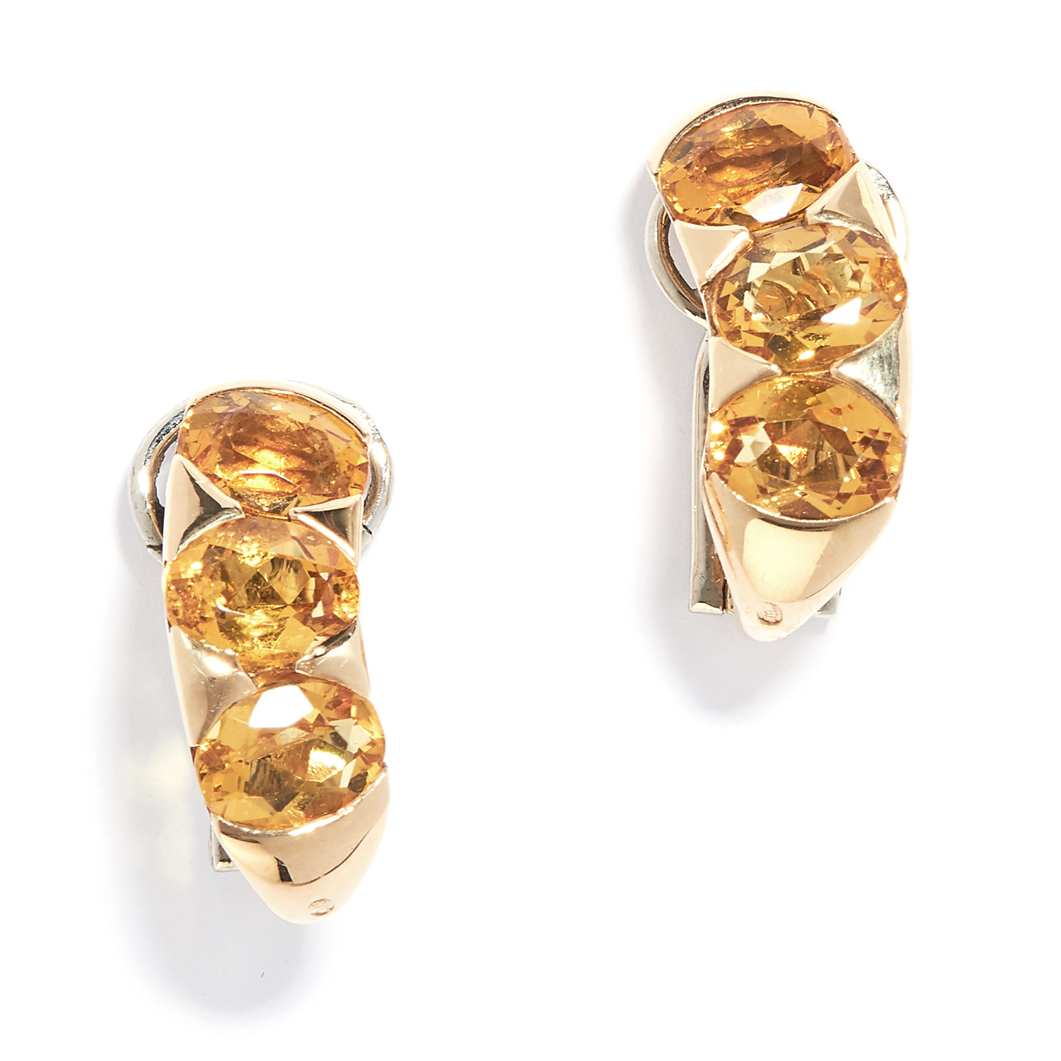 PAIR OF CITRINE CLIP EARRINGS, BULGARI in 18ct yellow gold, the hoop design set with a trio of