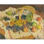 Mela Muter. Stillleben mit Korb, Weintrauben und Äpfeln.