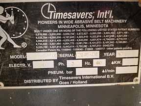 Lot 8 - 2003 TIMESAVERS 3331-24-001 ORBITAL SANDER; S/N 2048-04, 43'' BELT FEED, DOUCET BTWB3-36 POWER